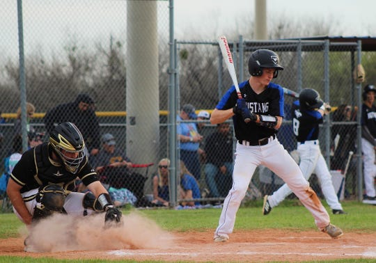 City View's Tyler Wilson bats as the pitch goes into the dirt. Wilson had a run in City View's 8-2 loss to Henrietta.