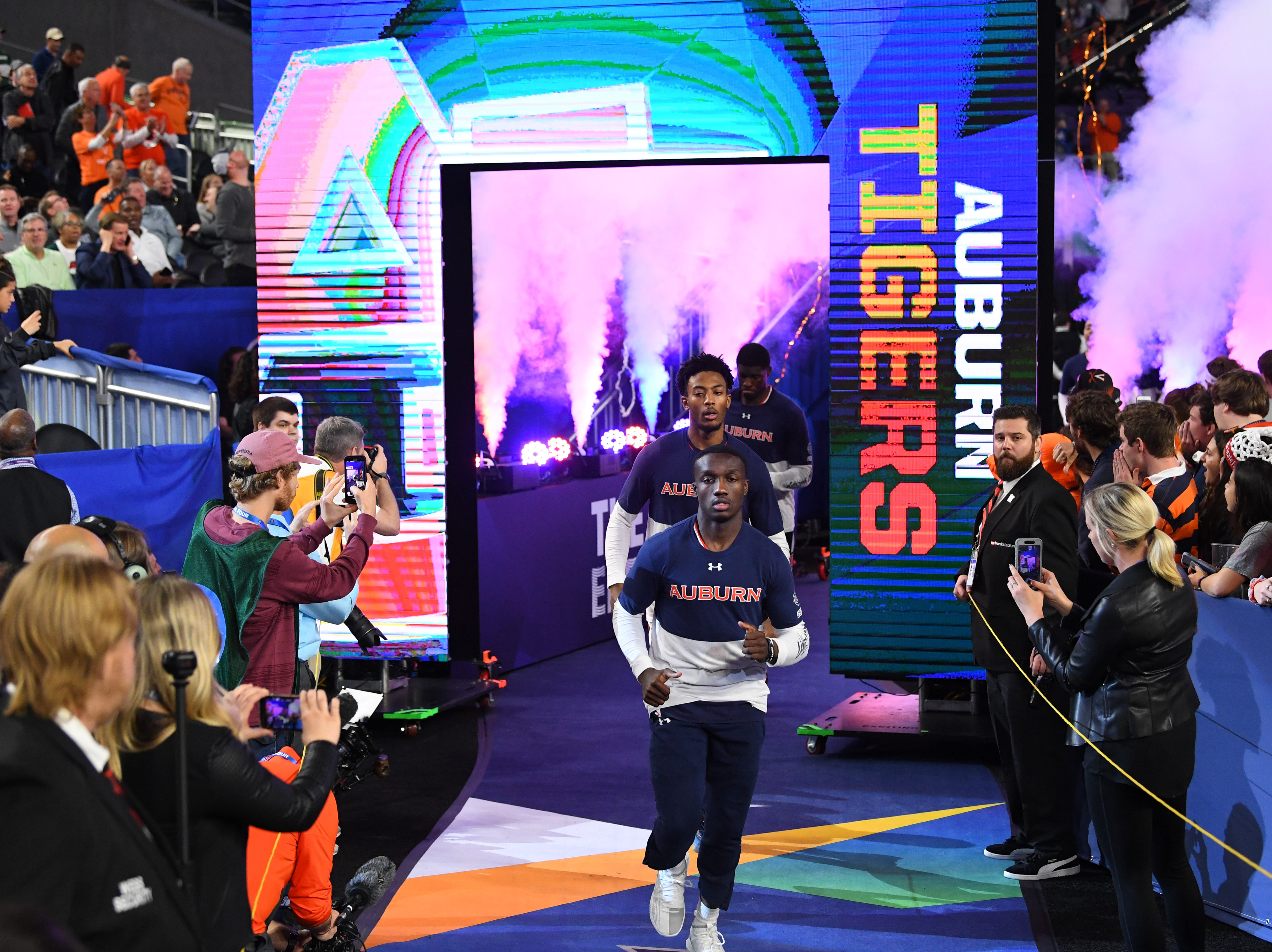 Auburn Tigers guard Jared Harper takes the floor prior to facing the Virginia Cavaliers.