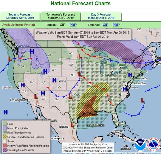 Severe weather expected as storm system from the northwest clashes with moisture from the Gulf of Mexico in this National Weather Service forecast for April 7, 2019.