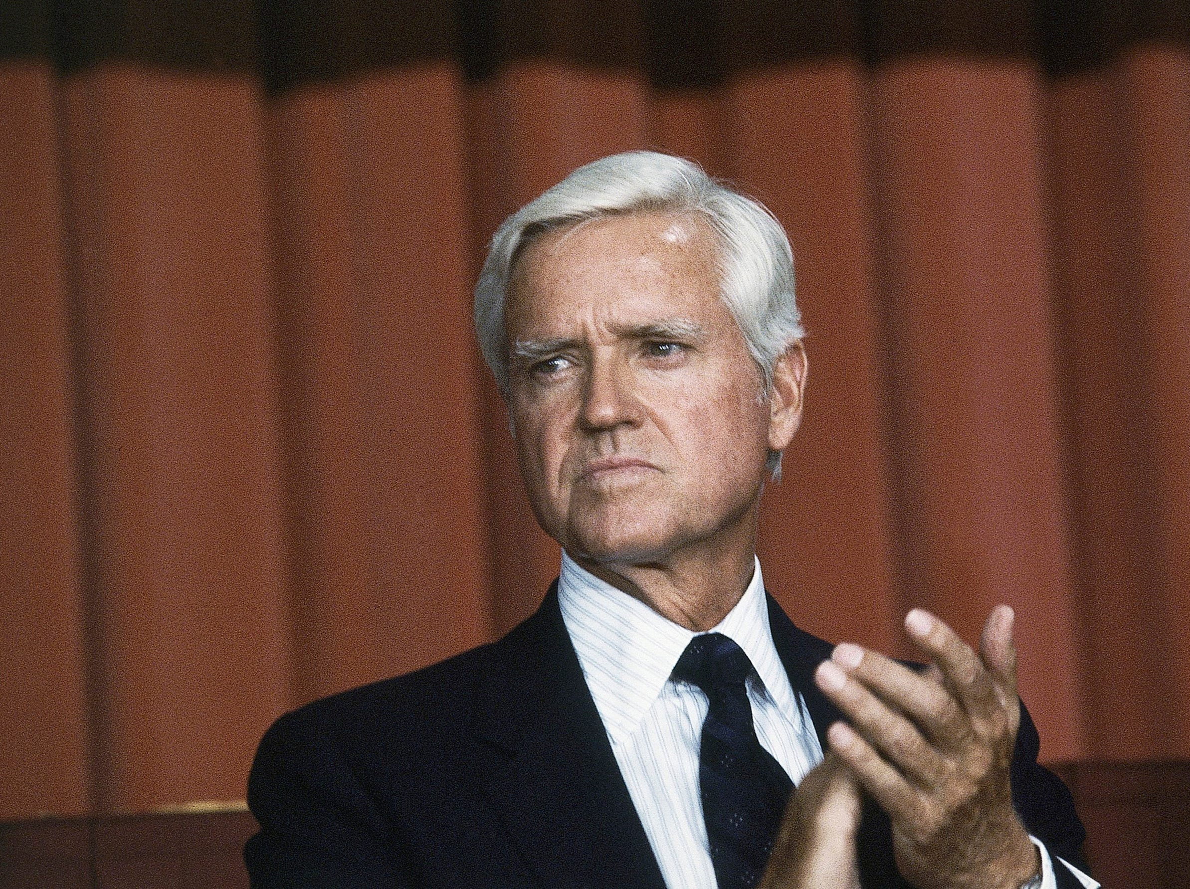 This July 20, 1983 file photo shows Senator Ernest F. Hollings (D-S.C.) in Washington, D. C. Hollings, a moderate six-term Democrat who made an unsuccessful bid for the presidency in 1984, has died. He was 97. Family spokesman Andy Brack says Hollings died early Saturday, April 6, 2019.