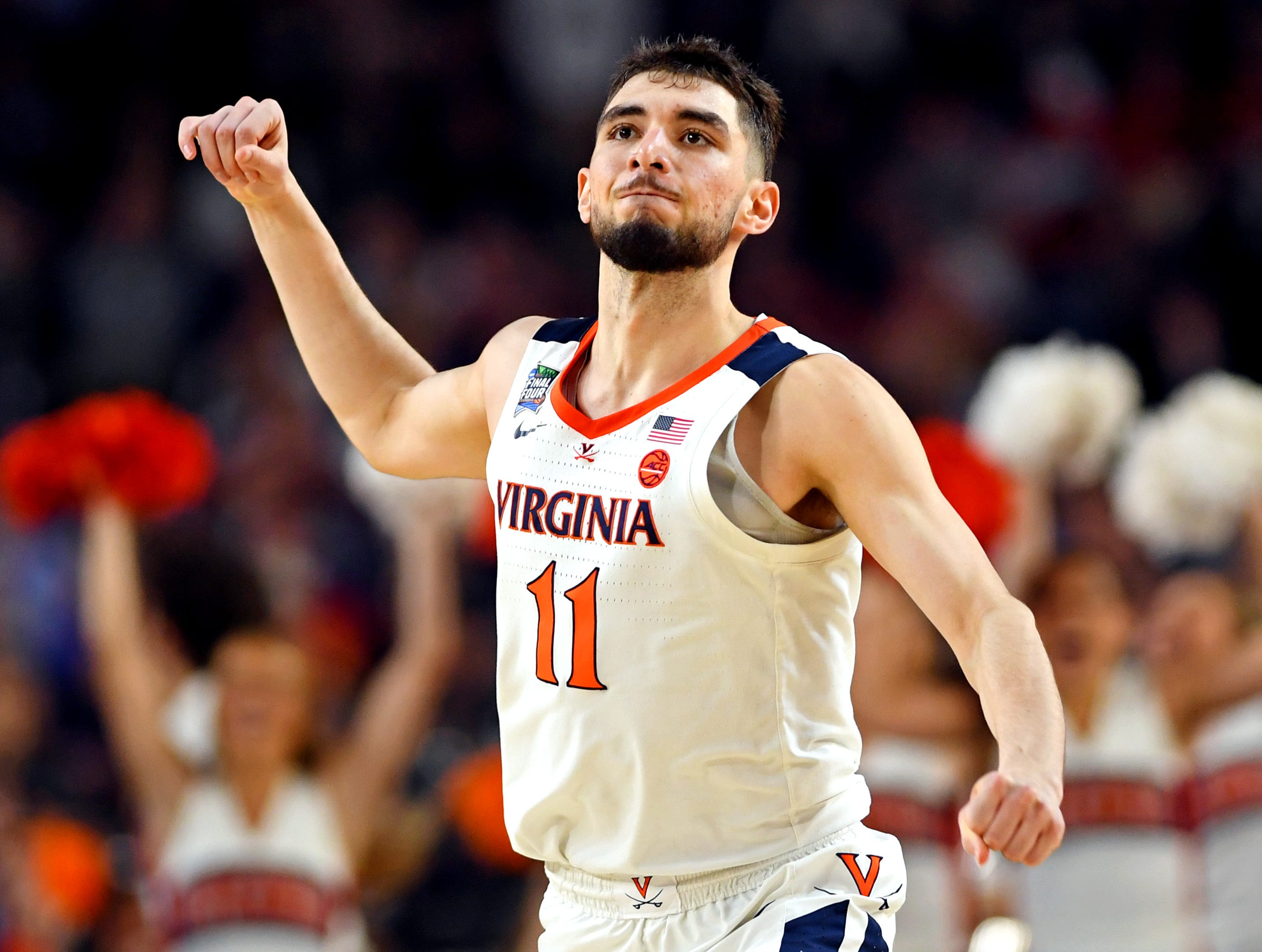 Virginia Cavaliers guard Ty Jerome reacts after a play against the Auburn Tigers.
