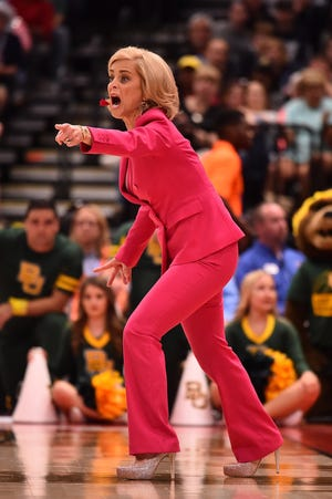 Baylor head coach Kim Mulkey reacts on the sidelines during the national semifinal against the Oregon Ducks. Mulkey is seeking her third national championship as the head coach of the Lady Bears.