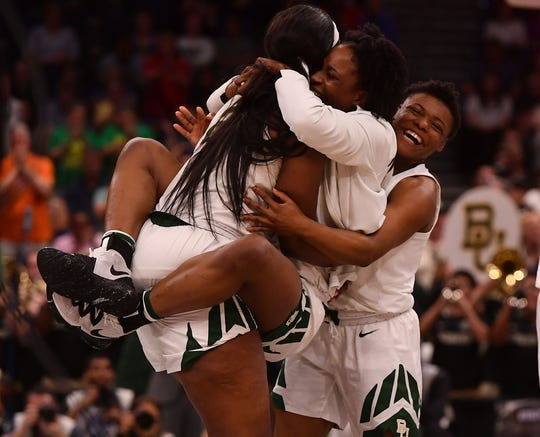 Baylor players celebrate after defeating Oregon in the semifinals of the Women's Final Four.