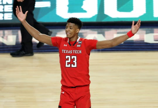 Texas Tech Red Raiders guard Jarrett Culver (23) celebrates after defeating the Michigan State Spartans in the semifinals of the 2019 men's Final Four at US Bank Stadium.