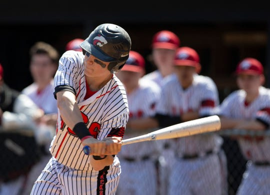 Jackson Memorial, with Alex Iadisernia, shown smacking a double this past Saturday against Jackson Liberty as one of its best players, is ranked No. 2 in the Asbury Park Press Top 10.
