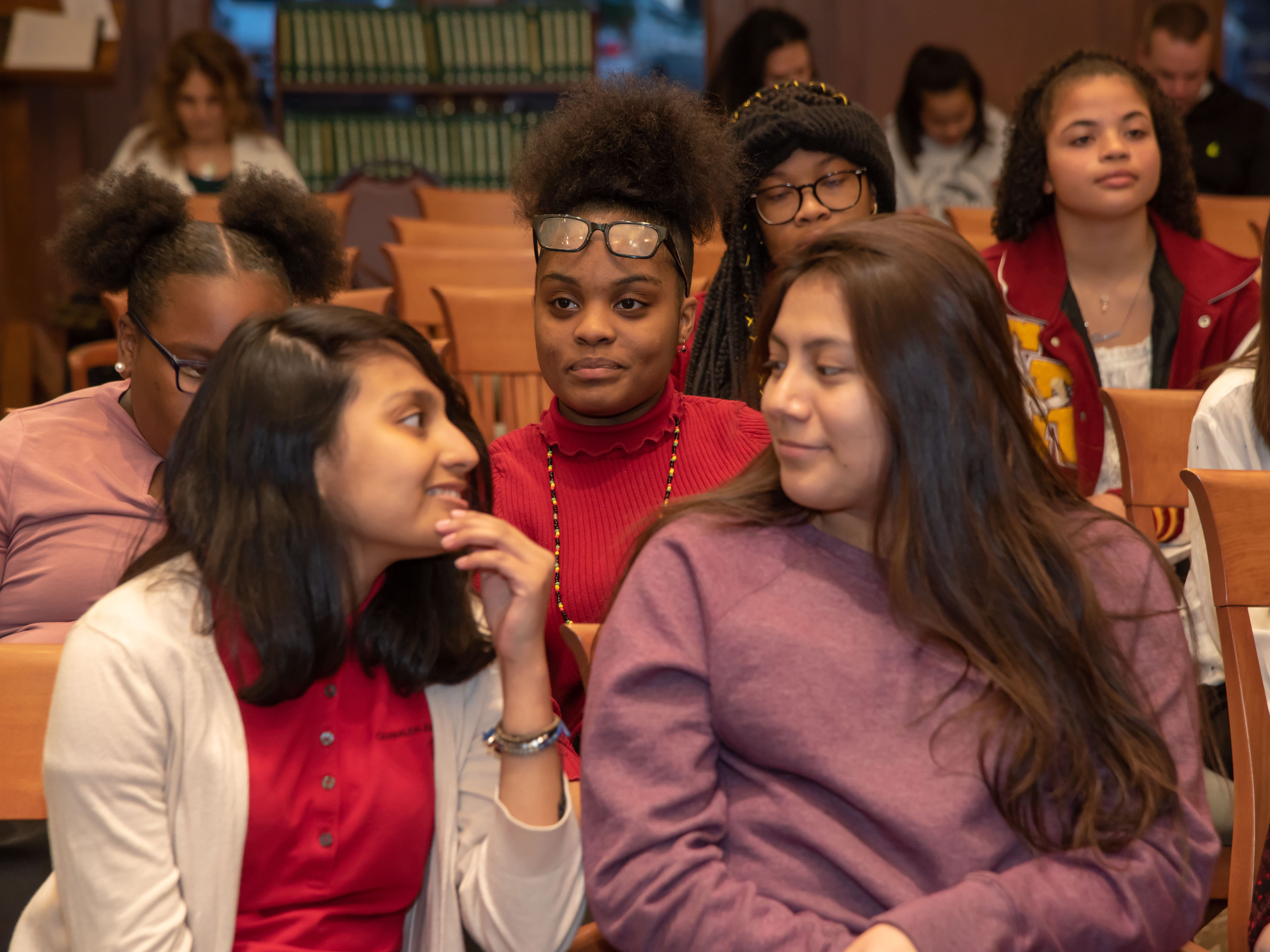 Students from Asbury Park talk about completing a mini-medical school lecture series at Georgian Court University. They were among more than 60 students who participated in the program, which was sponsored by the Hackensack Meridian School of Medicine at Seton Hall University.