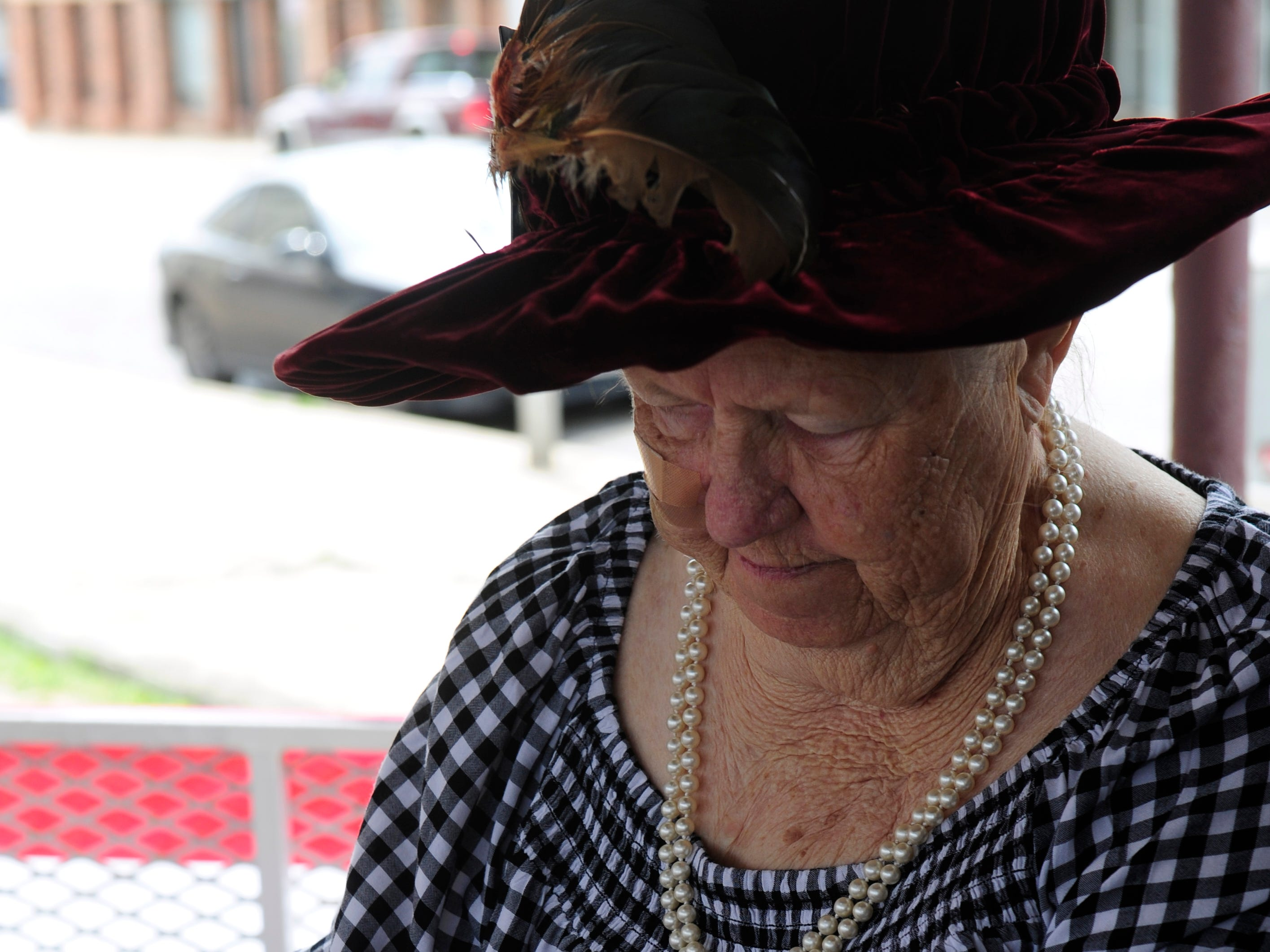 Jeane Pruett, a local historian and former mayor of Ranger, re-enacts the signing of the 1919 town charter Saturday April 6, 2019. Parades, live music, a time capsule and other activities marked the centennial celebration for Ranger over the weekend.