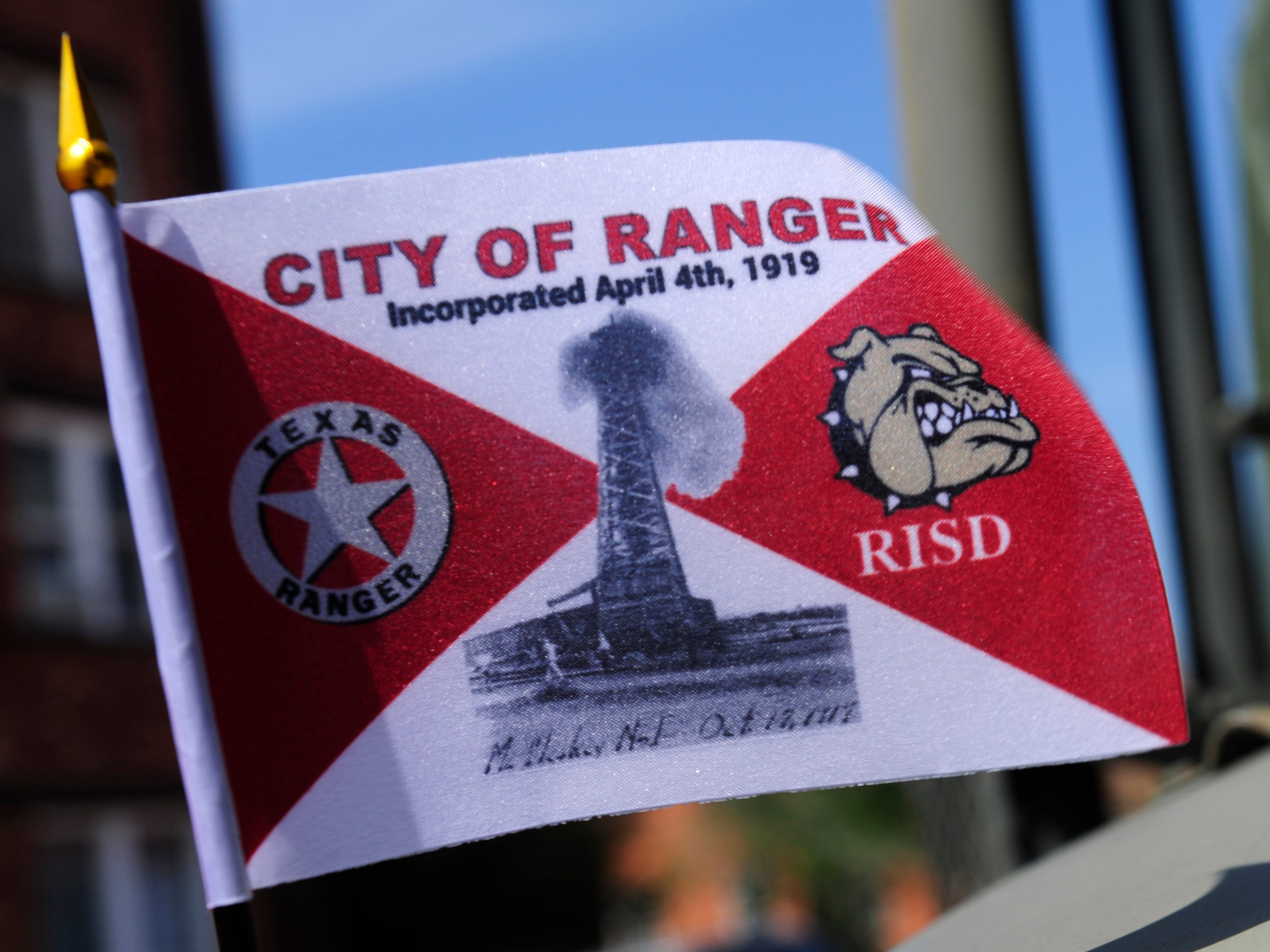 LilliyAna Hernandez' winning flag design, mounted on a military truck after Saturday's parade in Ranger April 6, 2019. The city over the weekend celebrated 100 years since its incorporation.