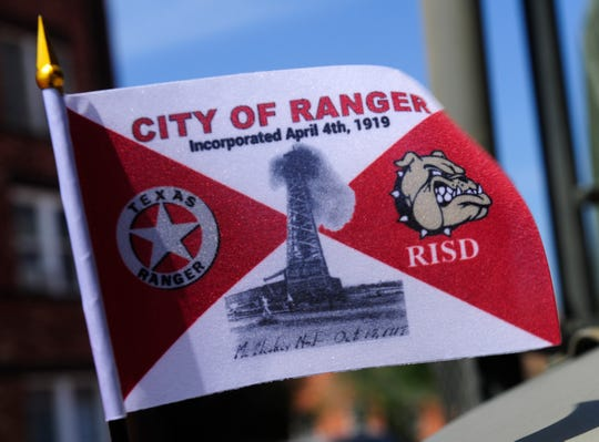 LilliyAna Hernandez' winning flag design, mounted on a military truck after Saturday's parade in Ranger.