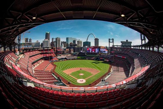 "General view of Busch Stadium prior to the game between the St. Louis Cardinals and the San Diego Padres. Jeffrey Guarino refers it to a ""church."""