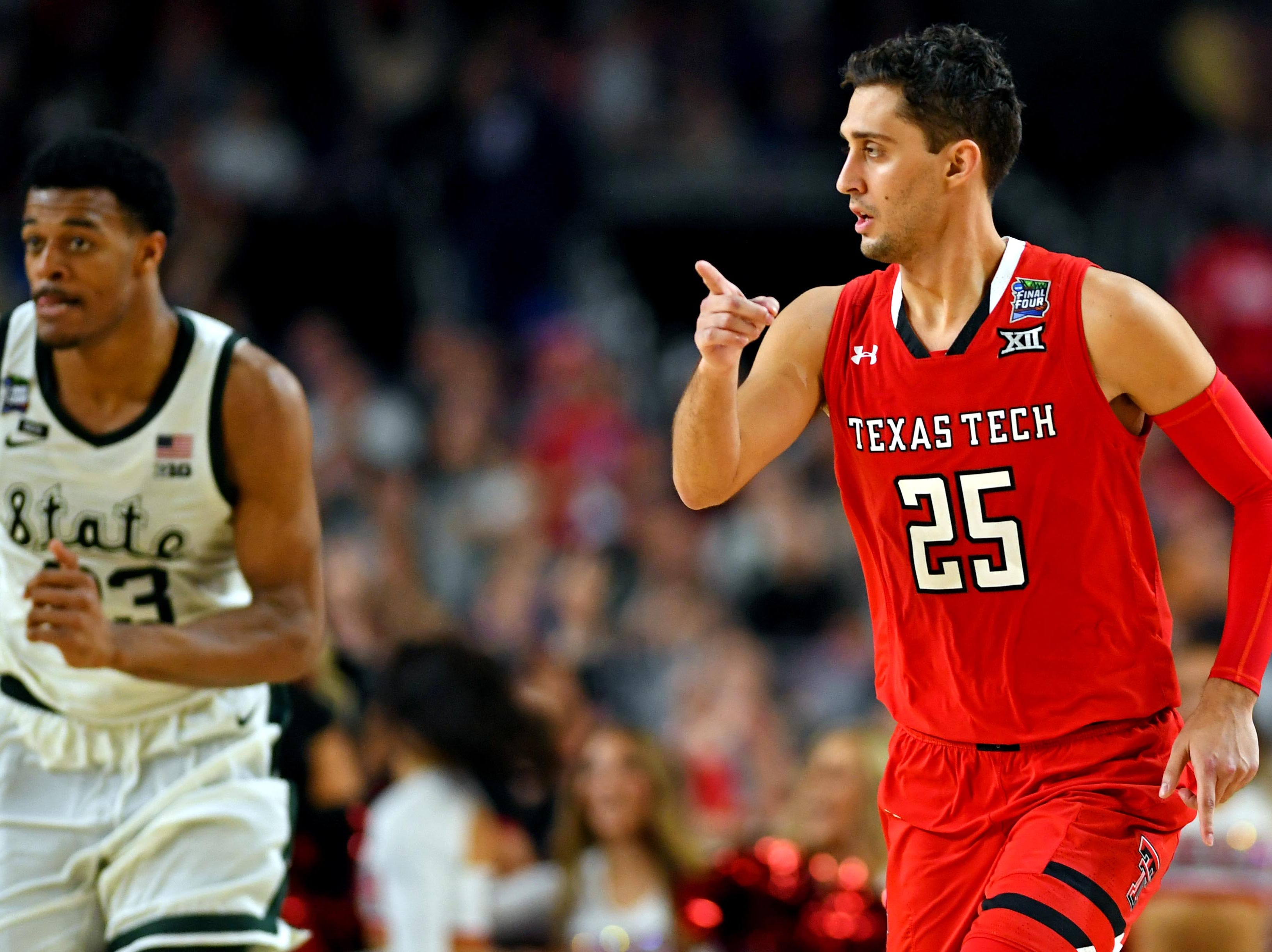 Apr 6, 2019; Minneapolis, MN, USA; Texas Tech Red Raiders guard Davide Moretti (25) reacts after a play during the second half against the Michigan State Spartans in the semifinals of the 2019 men's Final Four at US Bank Stadium. Mandatory Credit: Bob Donnan-USA TODAY Sports