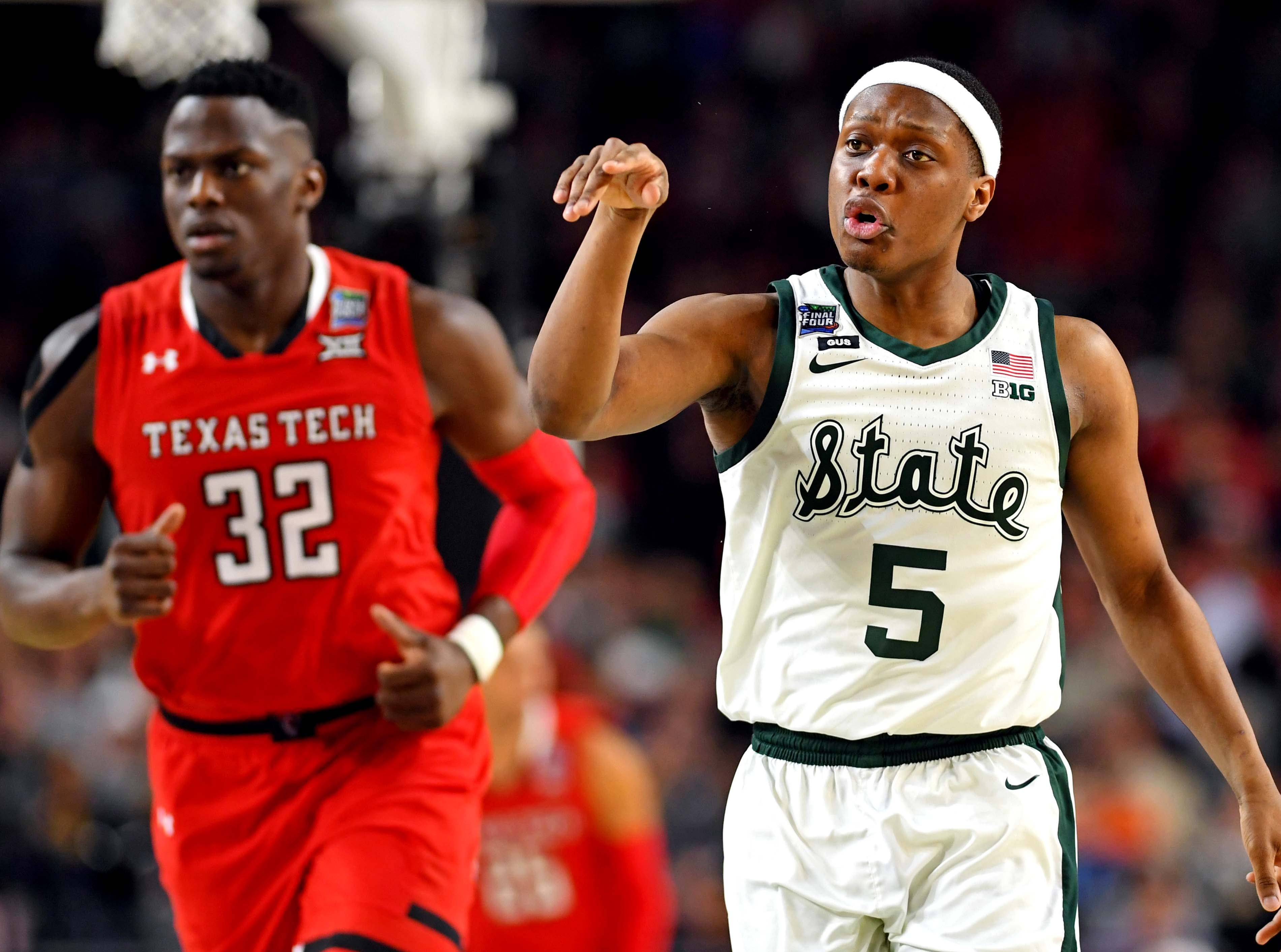 Apr 6, 2019; Minneapolis, MN, USA; Michigan State Spartans guard Cassius Winston (5) reacts after a play during the first half against the Texas Tech Red Raiders in the semifinals of the 2019 men's Final Four at US Bank Stadium. Mandatory Credit: Bob Donnan-USA TODAY Sports