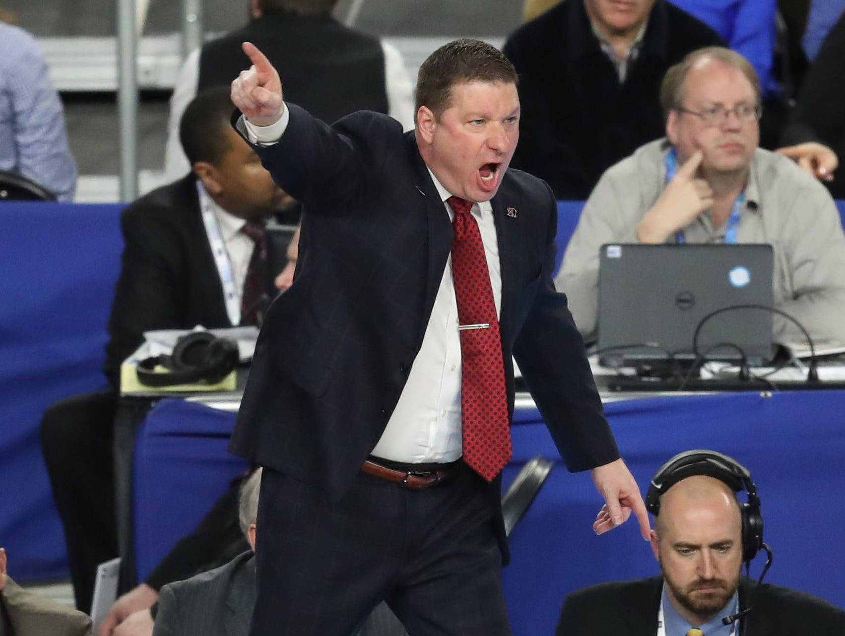 Apr 6, 2019; Minneapolis, MN, USA; Texas Tech Red Raiders head coach Chris Beard reacts during the first half against the Michigan State Spartans in the semifinals of the 2019 men's Final Four at US Bank Stadium. Mandatory Credit: Brace Hemmelgarn-USA TODAY Sports