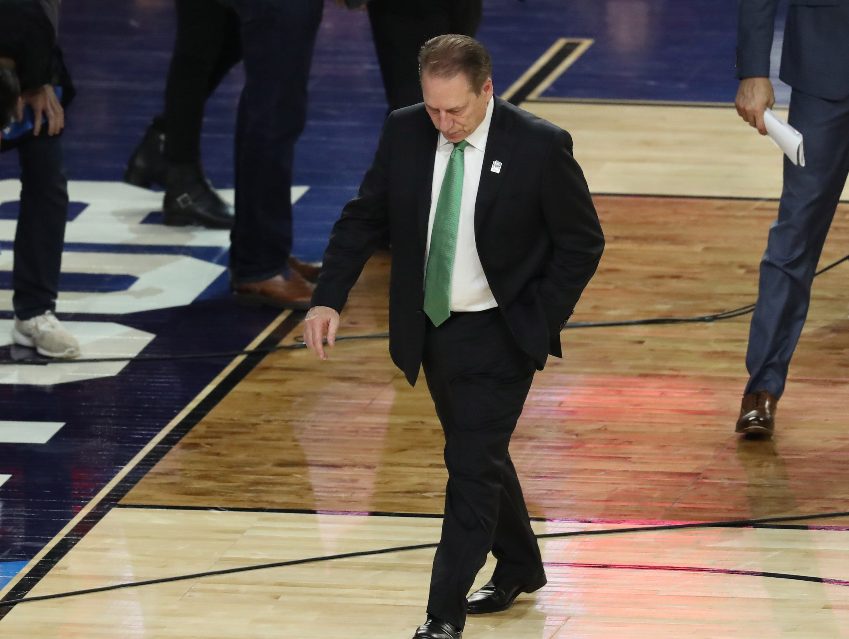 Apr 6, 2019; Minneapolis, MN, USA; Michigan State Spartans head coach Tom Izzo walks off the court after being defeated by Texas Tech Red Raiders in the semifinals of the 2019 men's Final Four at US Bank Stadium. Mandatory Credit: Brace Hemmelgarn-USA TODAY Sports