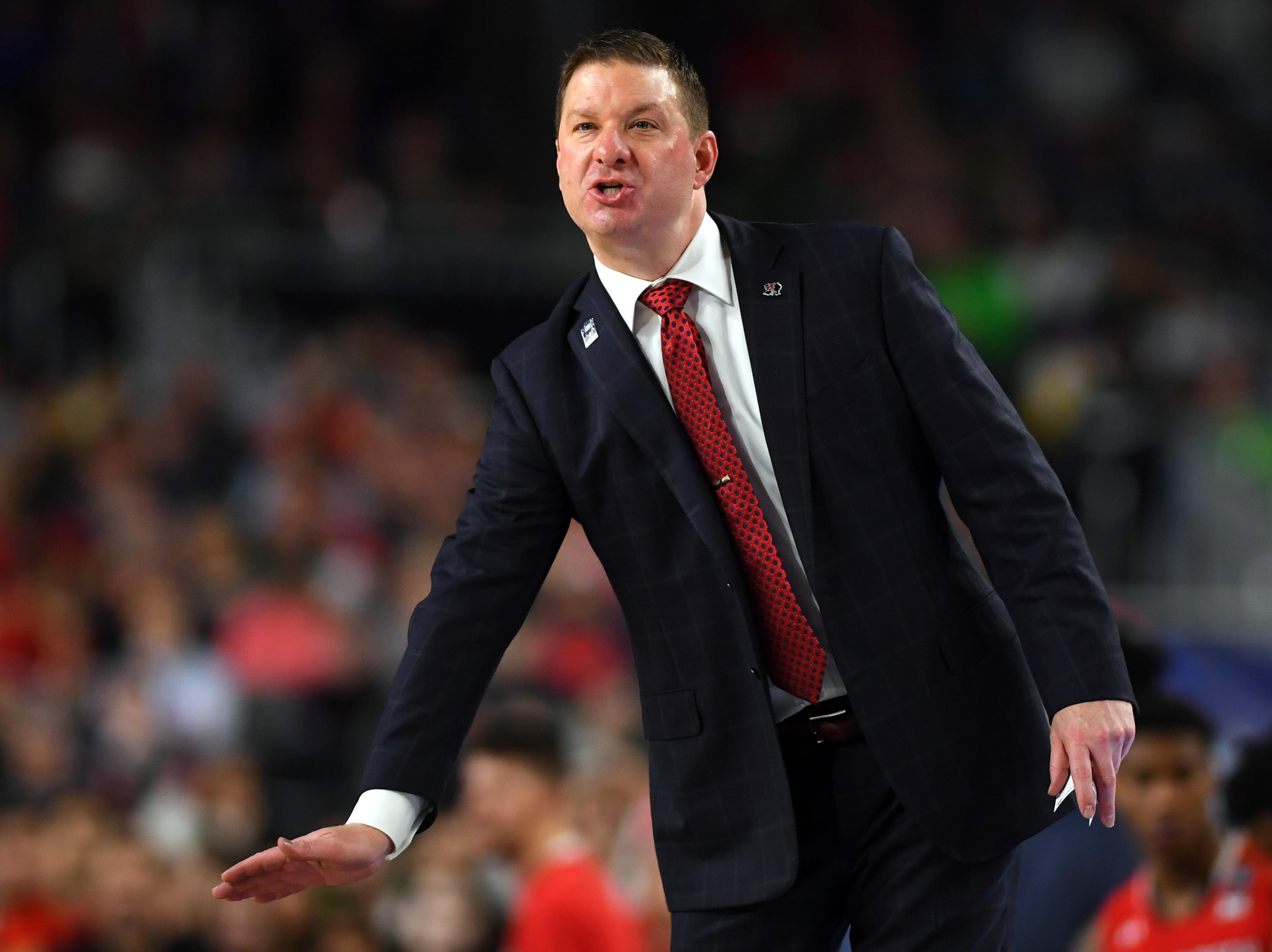 Apr 6, 2019; Minneapolis, MN, USA; Texas Tech Red Raiders head coach Chris Beard reacts during the second half against the Michigan State Spartans in the semifinals of the 2019 men's Final Four at US Bank Stadium. Mandatory Credit: Bob Donnan-USA TODAY Sports