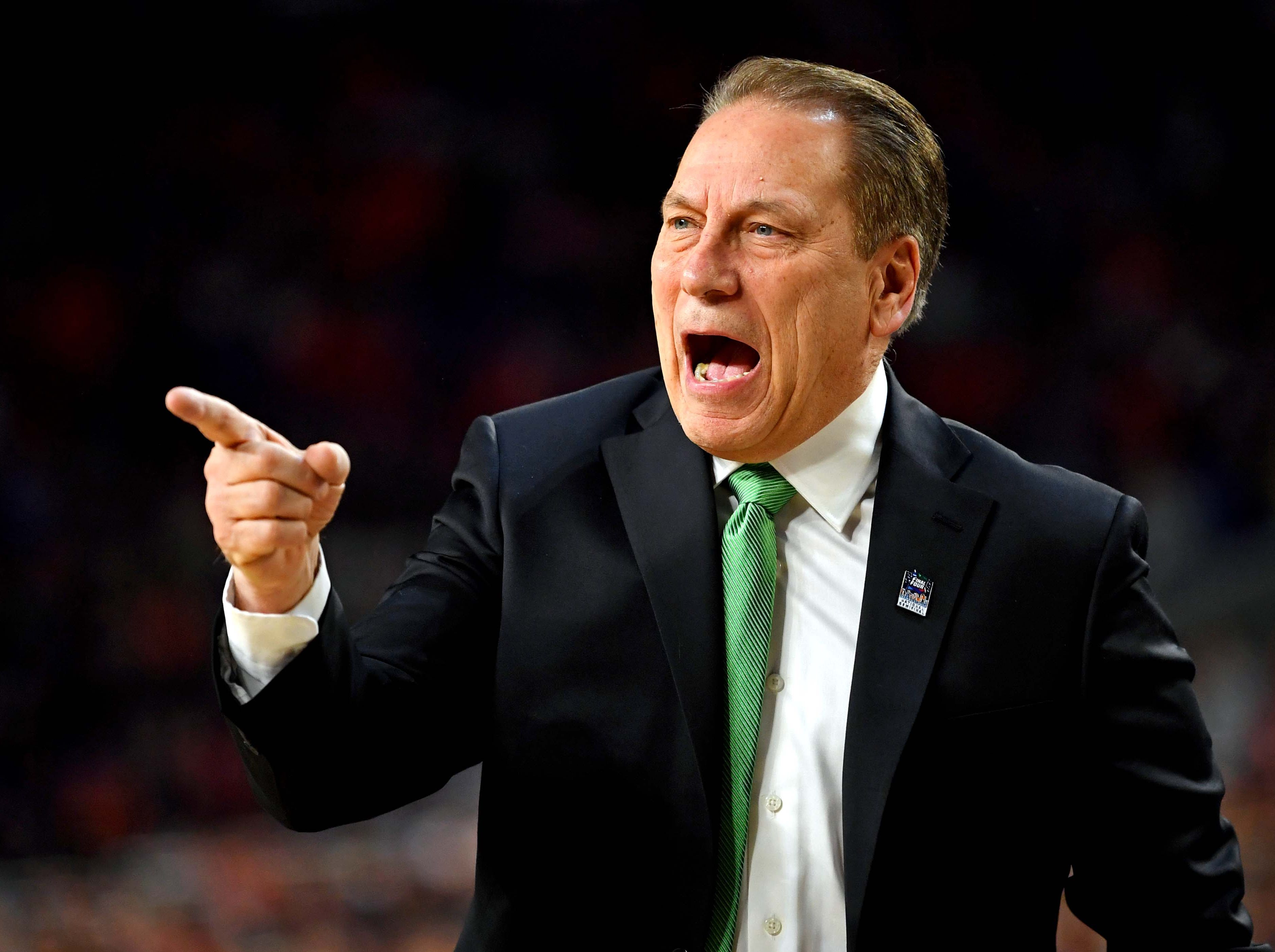 Apr 6, 2019; Minneapolis, MN, USA; Michigan State Spartans head coach Tom Izzo during the first half against the Texas Tech Red Raiders in the semifinals of the 2019 men's Final Four at US Bank Stadium. Mandatory Credit: Bob Donnan-USA TODAY Sports