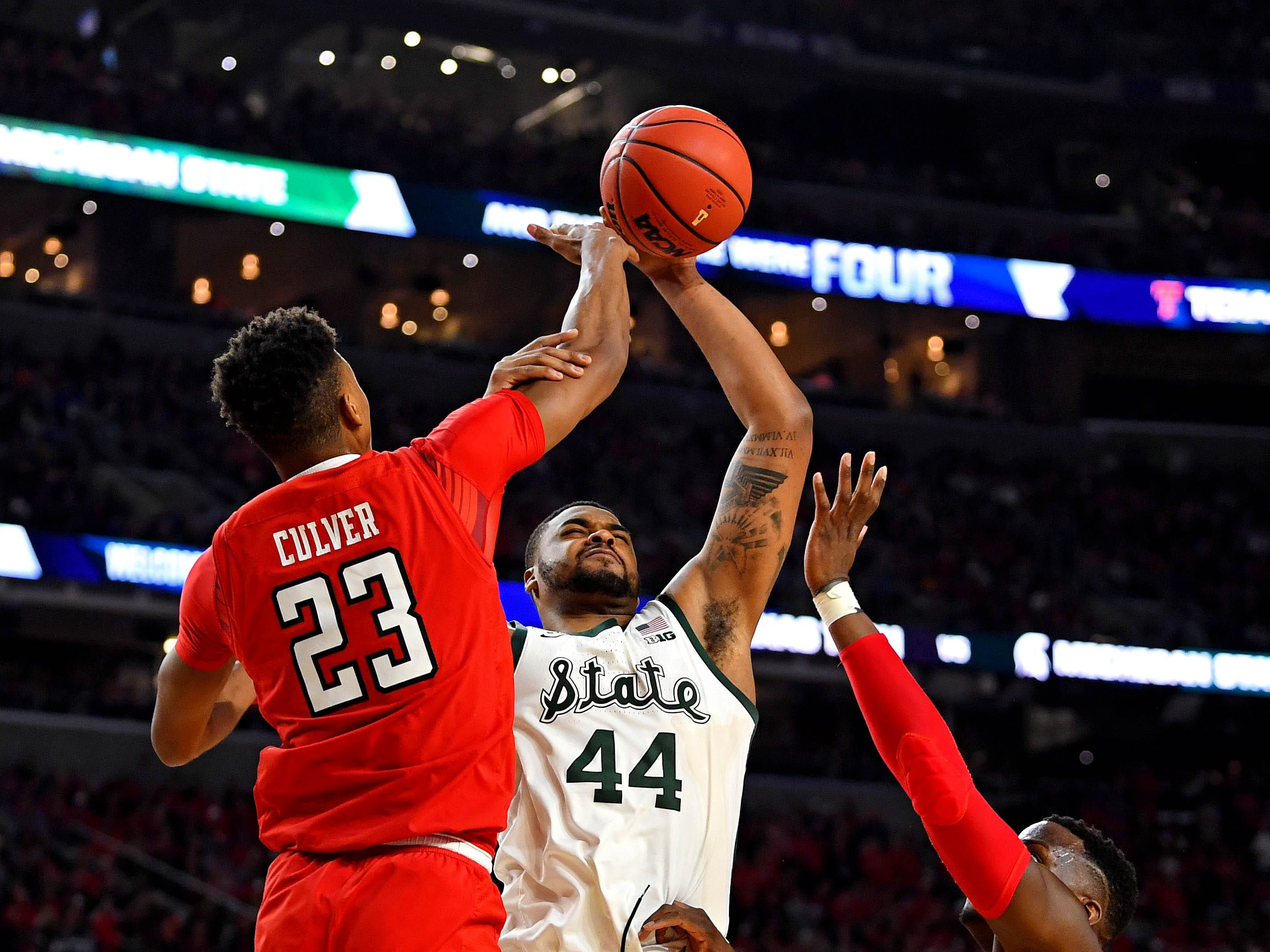 Apr 6, 2019; Minneapolis, MN, USA; Michigan State Spartans forward Nick Ward (44) shoots the ball against Texas Tech Red Raiders guard Jarrett Culver (23) during the second half in the semifinals of the 2019 men's Final Four at US Bank Stadium. Mandatory Credit: Bob Donnan-USA TODAY Sports