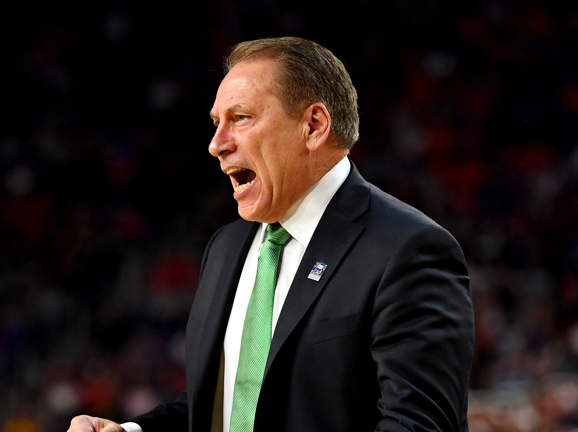 Apr 6, 2019; Minneapolis, MN, USA; Michigan State Spartans head coach Tom Izzo reacts during the second half against the Texas Tech Red Raiders in the semifinals of the 2019 men's Final Four at US Bank Stadium. Mandatory Credit: Bob Donnan-USA TODAY Sports