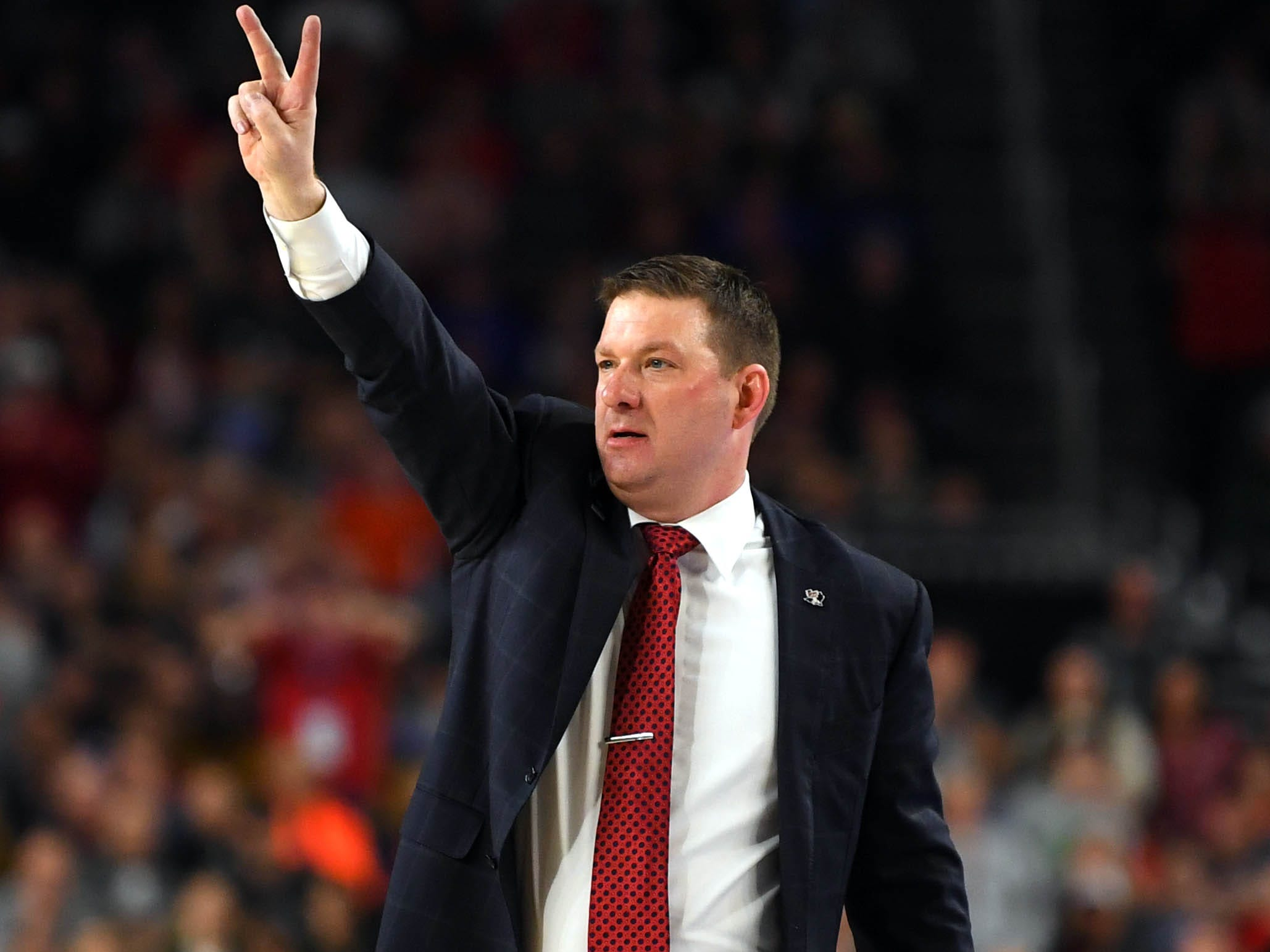 Apr 6, 2019; Minneapolis, MN, USA; Texas Tech Red Raiders head coach Chris Beard during the second half against the Michigan State Spartans in the semifinals of the 2019 men's Final Four at US Bank Stadium. Mandatory Credit: Bob Donnan-USA TODAY Sports