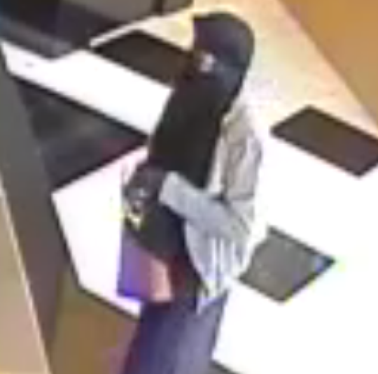 A burka-wearing bandit robbed a Republic Bank in Haddonfield Saturday, police say.