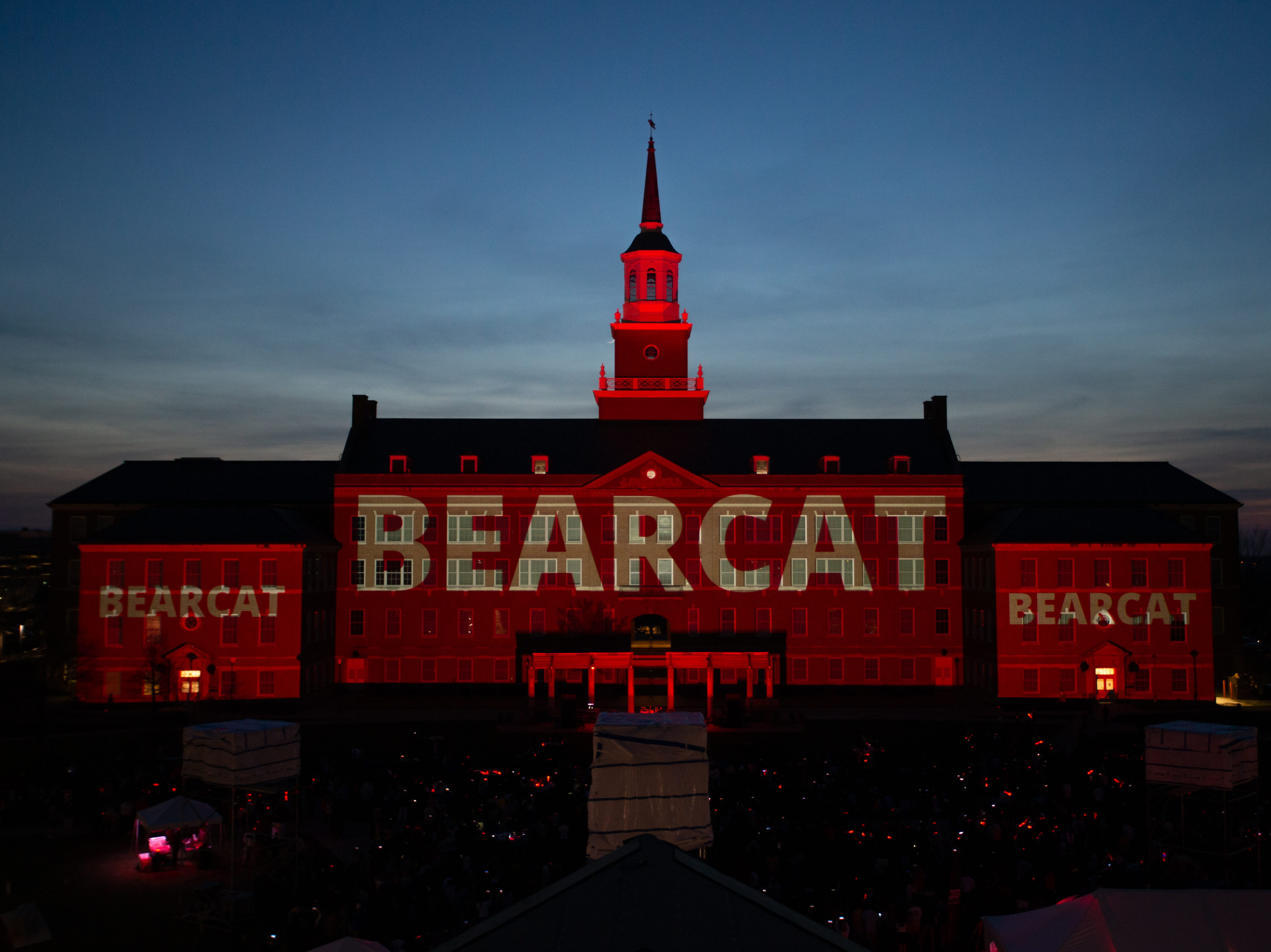 The word Bearcat adorned McMicken Hall during Community Day to celebrate UC's Bicentennial Saturday April 6, 2019 at McMicken Commons on the campus of the University of Cincinnati. Photo by Andrew Higley/University of Cincinnati