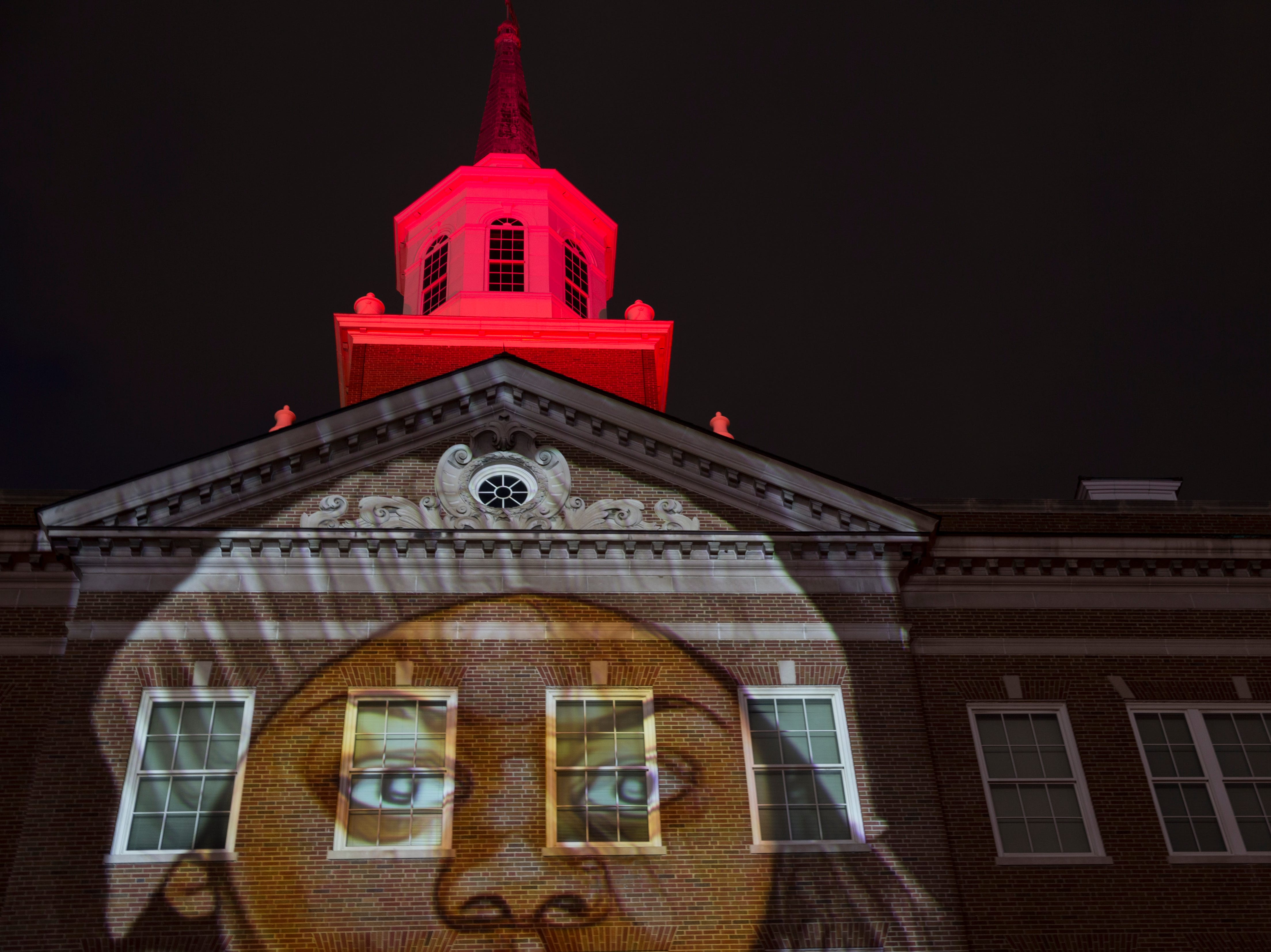 MOMENTUM Projection-Mapping Light Show lit McMicken Hall to celebrate UC's Bicentennial during preview night Friday April 5, 2019. Photo by Lisa Ventre/University of Cincinnati