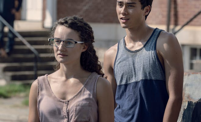 Kelley Mack as Addy, Joe Ando-Hirsh as Rodney on The Walking Dead in episode 13 of season 9.