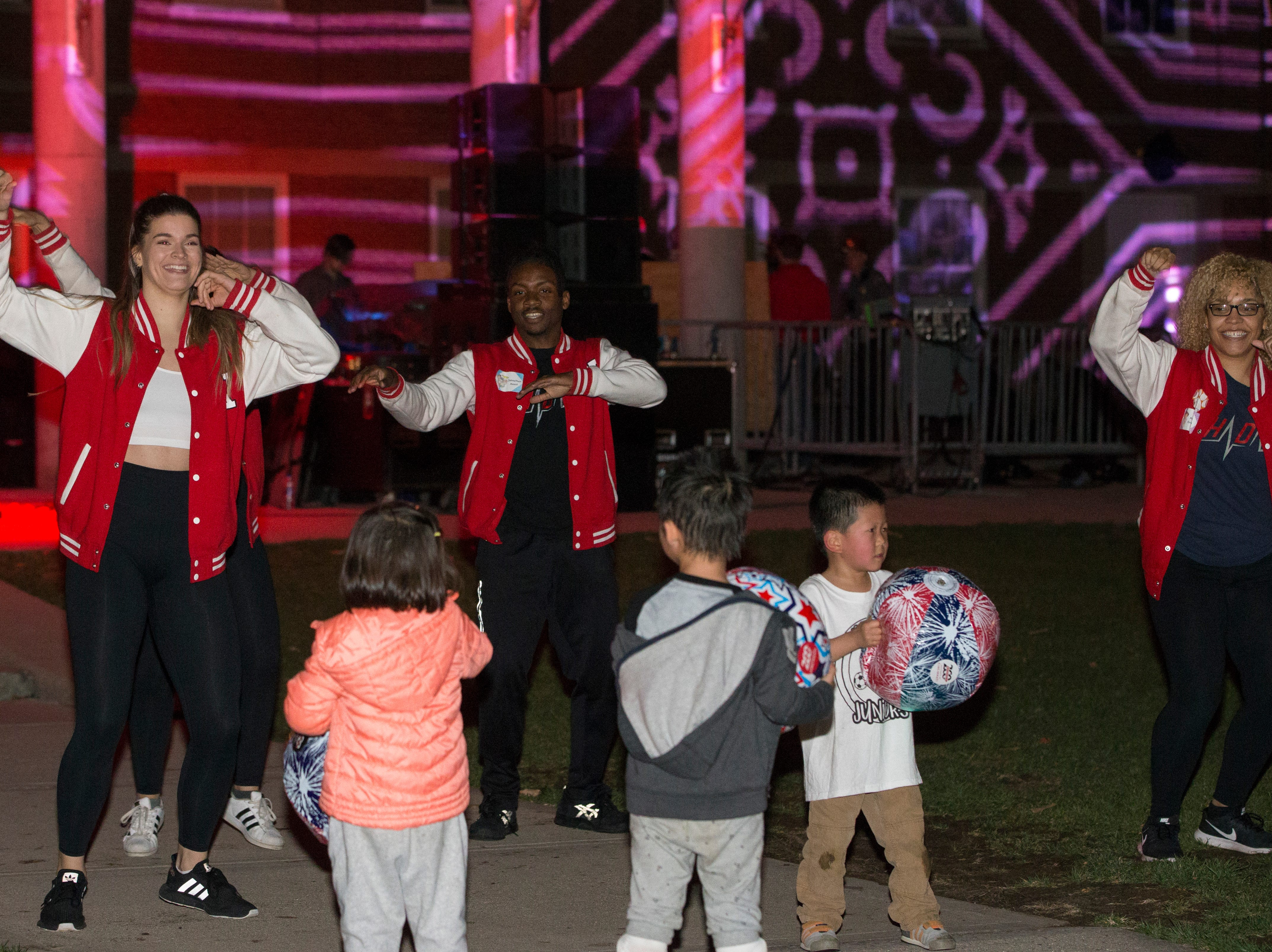 The Bollywood dancers performed during Momentum Projection-Mapping Light Show Saturday April 6, 2019 at McMicken Commons on the campus of the University of Cincinnati. University of Cincinnati/Joseph Fuqua II