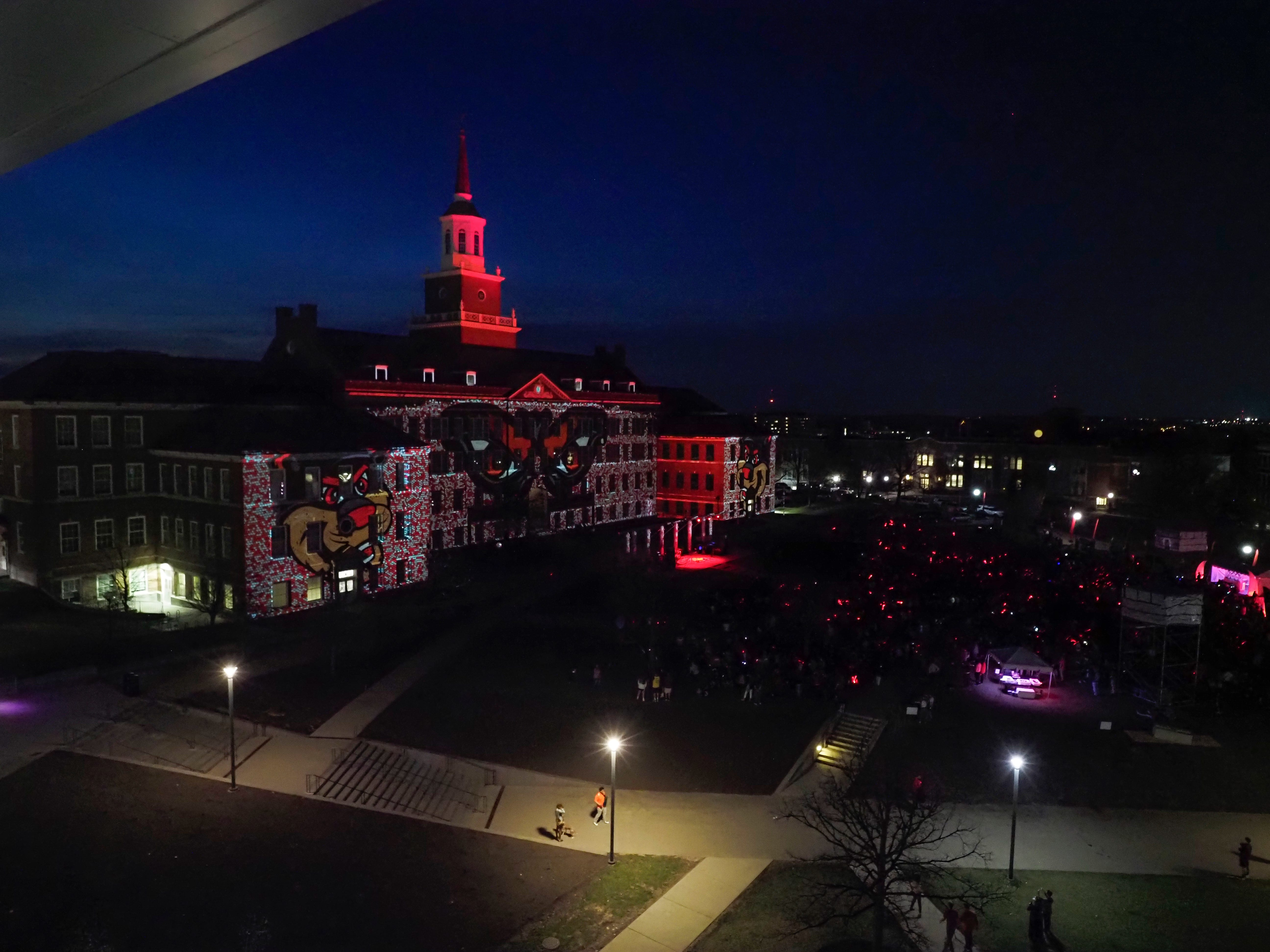 Bearcat images dispalyed on McMicken Hall during Community Day to celebrate UC's Bicentennial Saturday April 6, 2019 at McMicken Commons on the campus of the University of Cincinnati. Photo by Jay Yocis/University of Cincinnati
