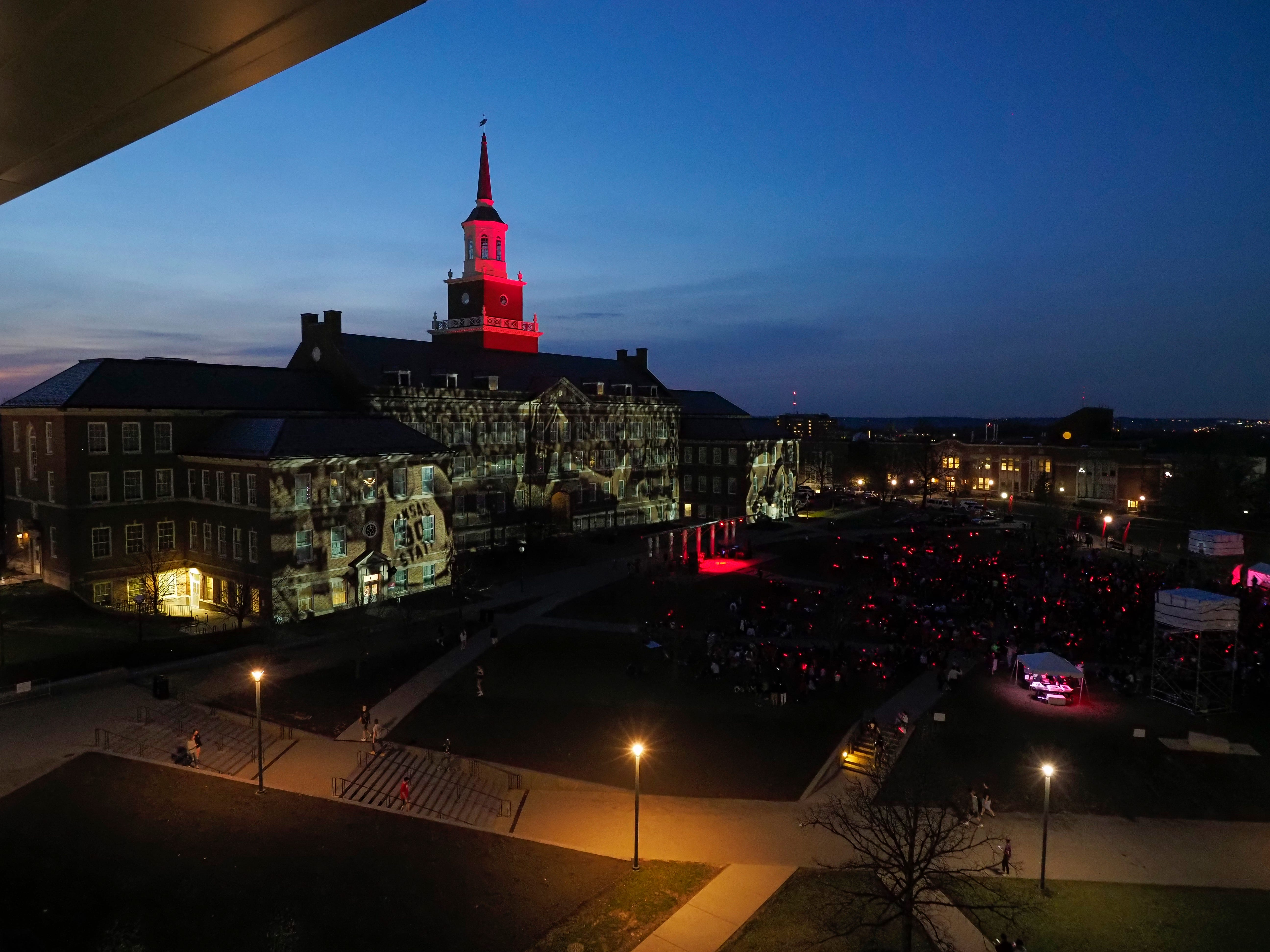 Oscar Robertson image displayed on McMicken Hall during Community Day to celebrate UC's Bicentennial Saturday April 6, 2019 at McMicken Commons on the campus of the University of Cincinnati. Photo by Jay Yocis/University of Cincinnati