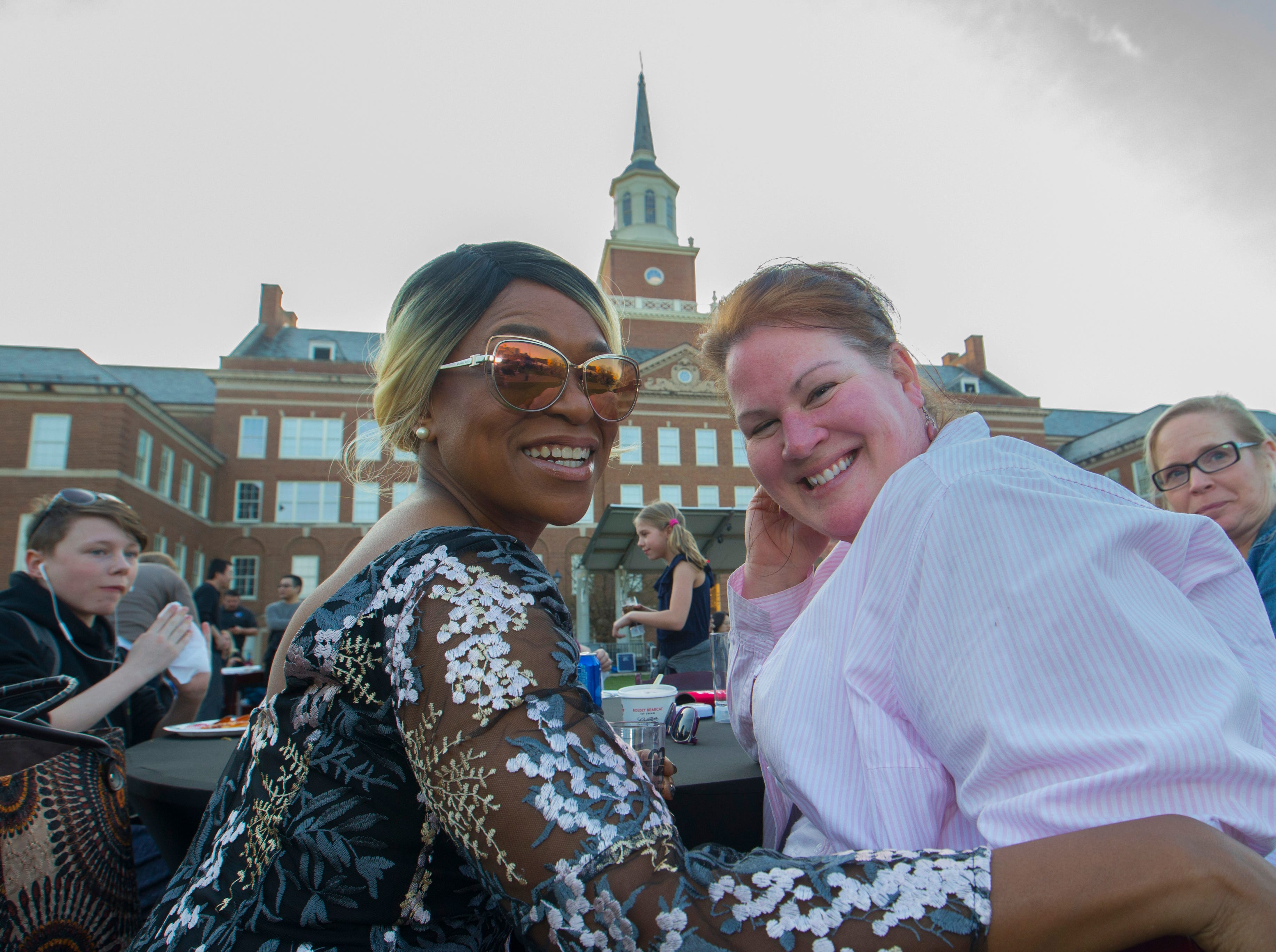 Dr. Holly McGee, left and Jenny Wohlfarth posed for a photo during Community Day to celebrate UC's Bicentennial Saturday April 6, 2019 at McMicken Commons on the campus of the University of Cincinnati. University of Cincinnati/Joseph Fuqua II