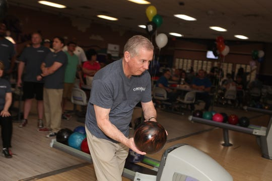 Clarksville Mayor Joe Pitts at the Big Brothers Big Sisters annual Bowl for Kids Sake at the Pinnacle Family Entertainment Center on Saturday, April 6, 2019.