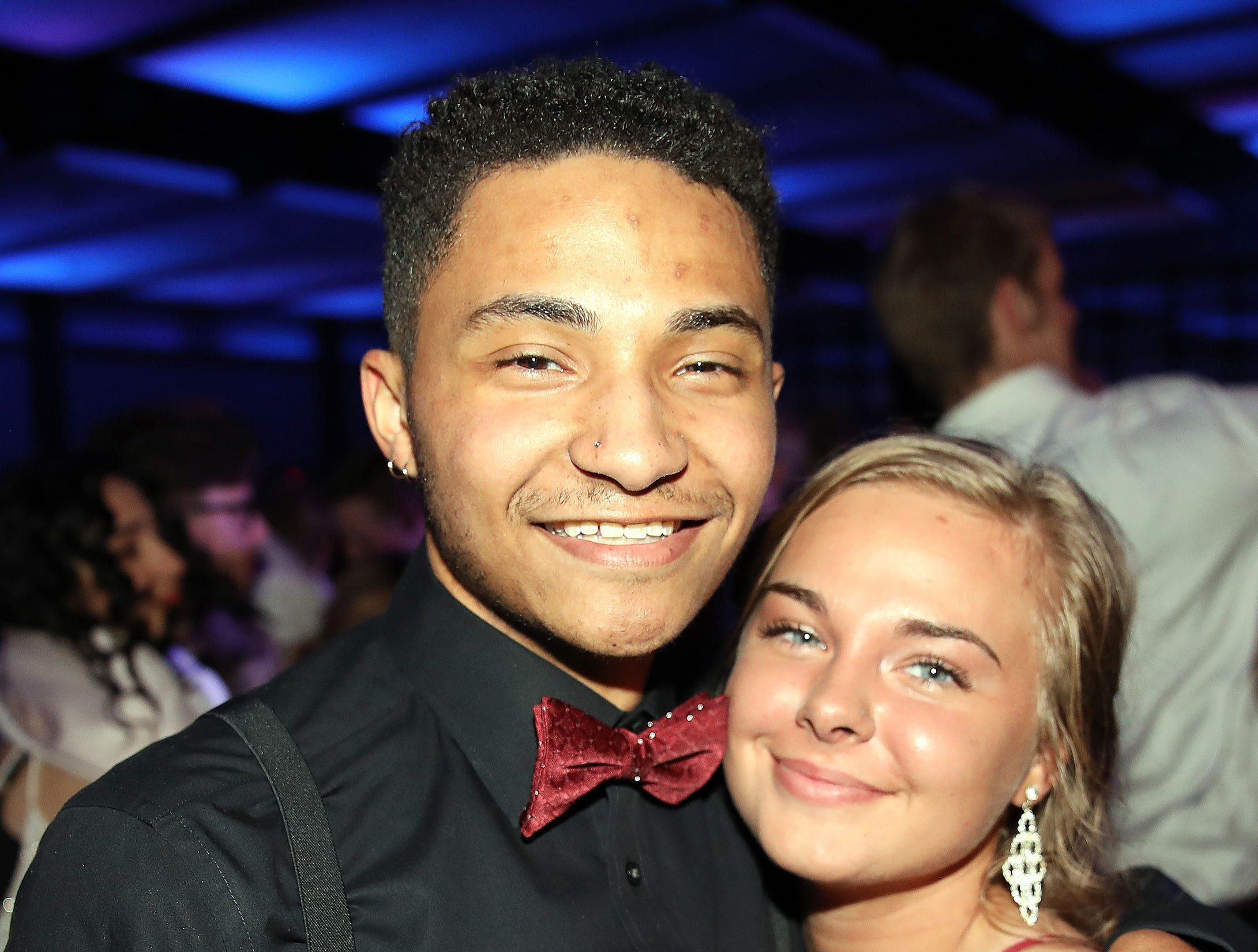 Chaise Russell and Alyssa Vander Vorst enjoy the Waukee High School Prom at the Ron Pearson Center in West Des Moines on Saturday, April 6, 2019.