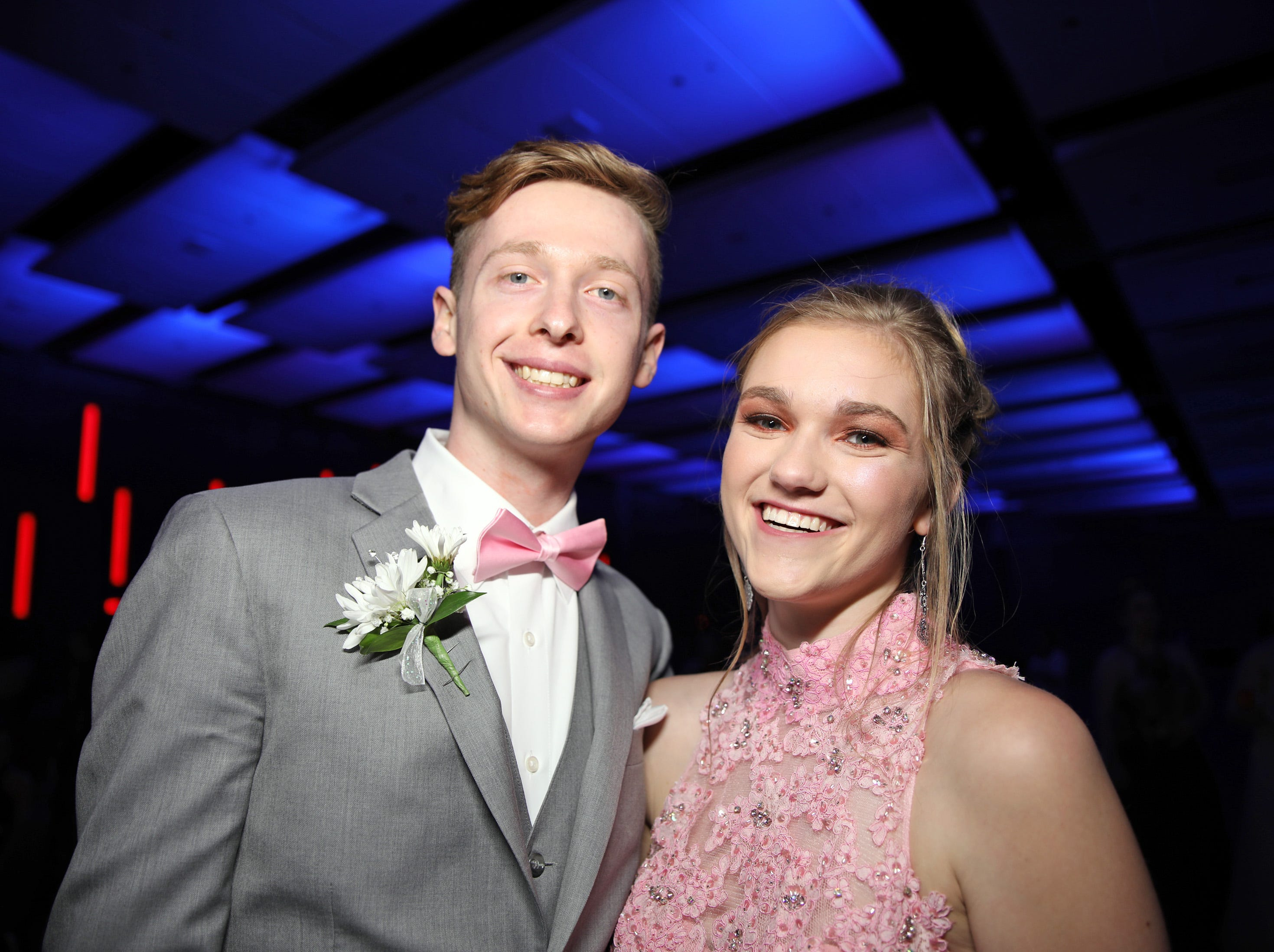 Seniors Hunter Stewart and Sydney Schafer attend the Waukee High School Prom at the Ron Pearson Center in West Des Moines on Saturday, April 6, 2019.