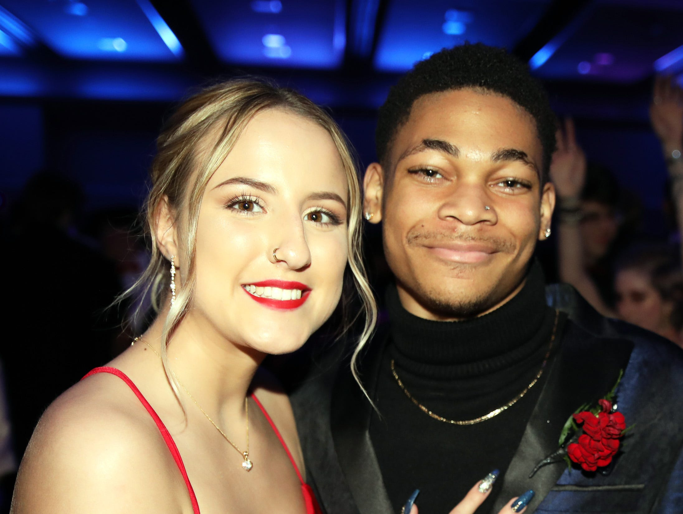 Seniors Victoria Sheehey and Kahlil Hicks-Jumper attend the Waukee High School Prom at the Ron Pearson Center in West Des Moines on Saturday, April 6, 2019.