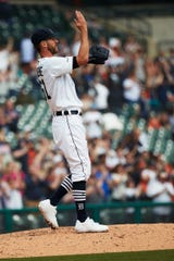 Tigers pitcher Shane Greene celebrate after the Tigers' 3-1 win over the Royals on Sunday, April 7, 2019, at Comerica Park.