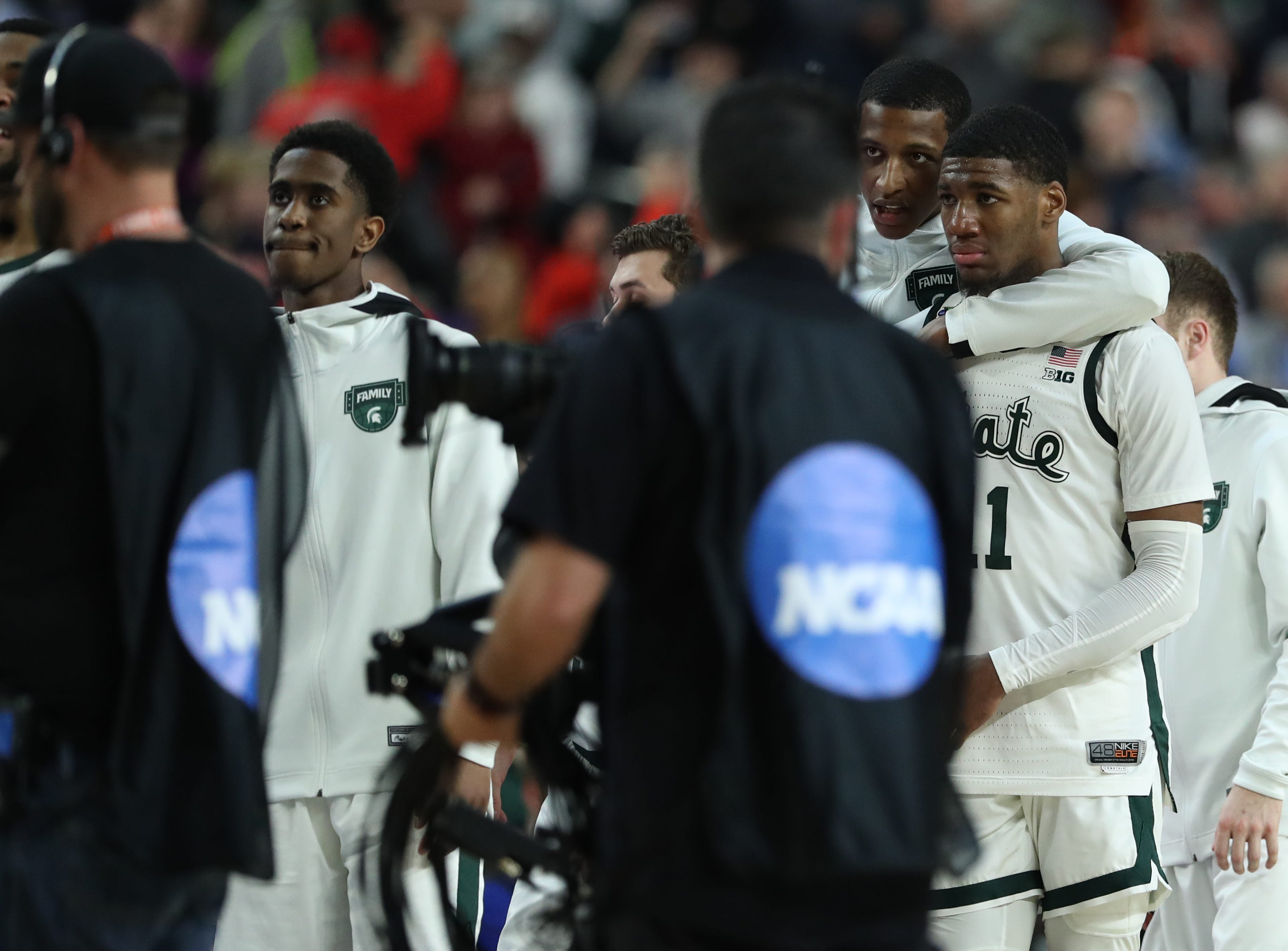 Michigan State walks off the court after losing the Final Four to Texas Tech at U.S. Bank Stadium in Minneapolis, Minnesota on Saturday, April 06, 2019.