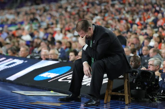 Michigan State head coach Tom Izzo reacts to the first half of the Spartan's Final Four game against Texas Tech at US Bank Stadium in Minneapolis, Minnesota on Saturday, April 06, 2019.