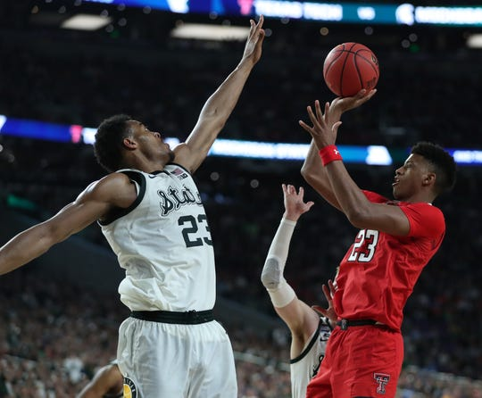 Michigan State forward Xavier Tillman guards Texas Tech guard Jarrett Culver in the second half of the Final Four game at US Bank Stadium in Minneapolis, Minnesota on Saturday, April 6, 2019.