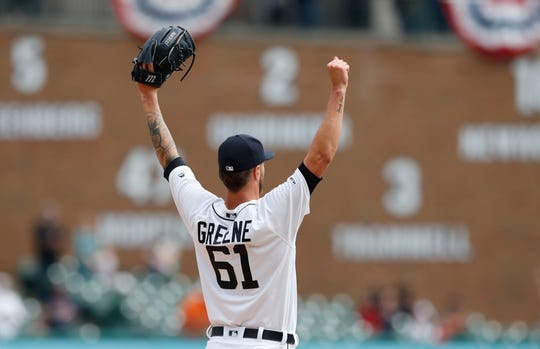 Shane Greene reacts after the last out to close out the ninth inning of the Tigers' 3-1 win over the Royals on Sunday, April 7, 2019, at Comerica Park.