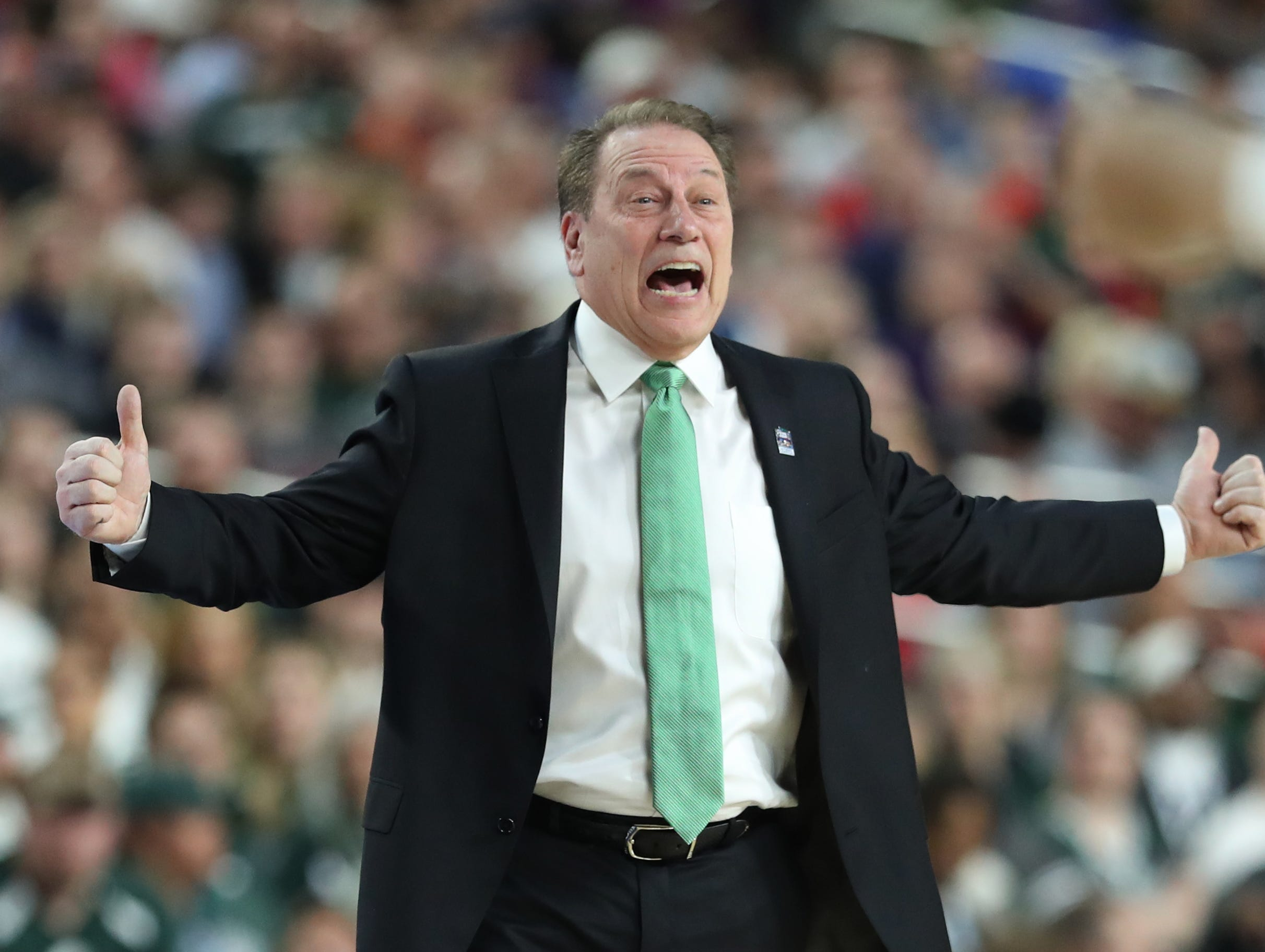 Michigan State head coach Tom Izzo shouts from the sidelines in the first half of the Spartan's Final Four game against Texas Tech at U.S. Bank Stadium in Minneapolis, Minnesota on Saturday, April 06, 2019.