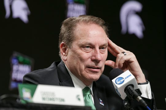 Michigan State head coach Tom Izzo answers a question during the postgame news conference, after their Final Four loss to Texas Tech, 61-51, at U.S. Bank Stadium in Minneapolis, Saturday, April 6, 2019.