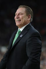 Michigan State head coach Tom Izzo smiles on the sidelines during the first half of the Spartan's Final Four game against Texas Tech at U.S. Bank Stadium in Minneapolis, Minnesota on Saturday, April 06, 2019.