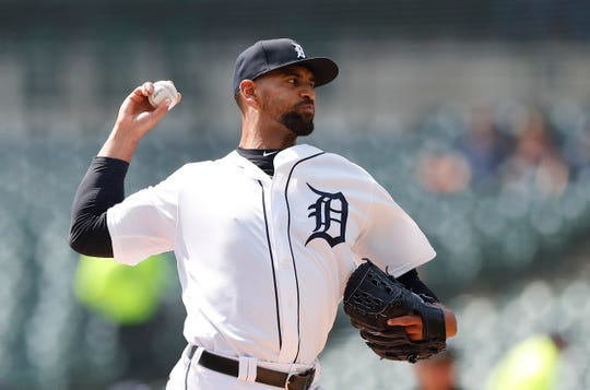 Tigers starting pitcher Tyson Ross throws during the first inning on Sunday, April 7, 2019, at Comerica Park.