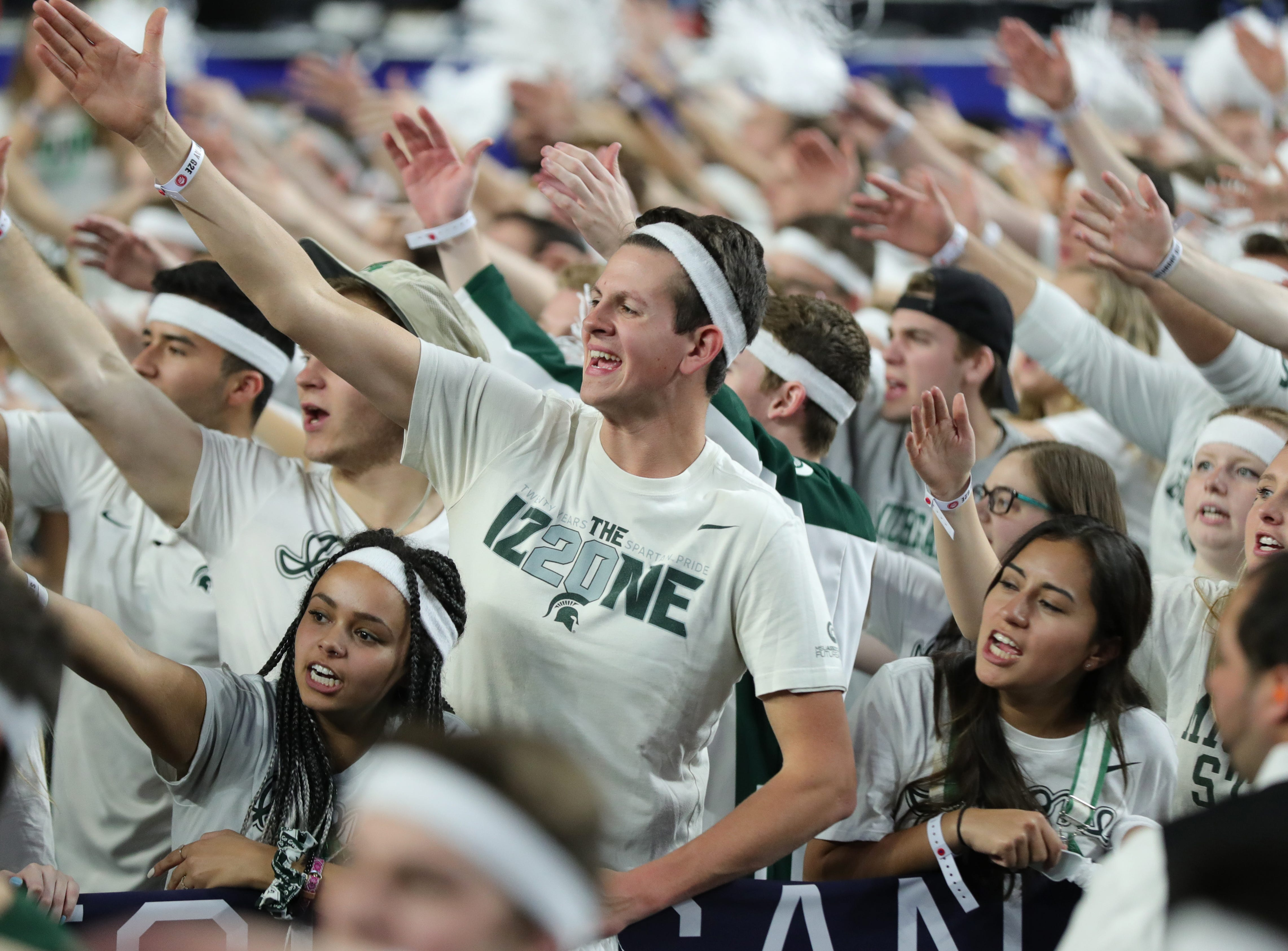 Michigan State fans chant in the student section Cassius at the Final Four at U.S. Bank Stadium in Minneapolis, Minnesota on Saturday, April 06, 2019.
