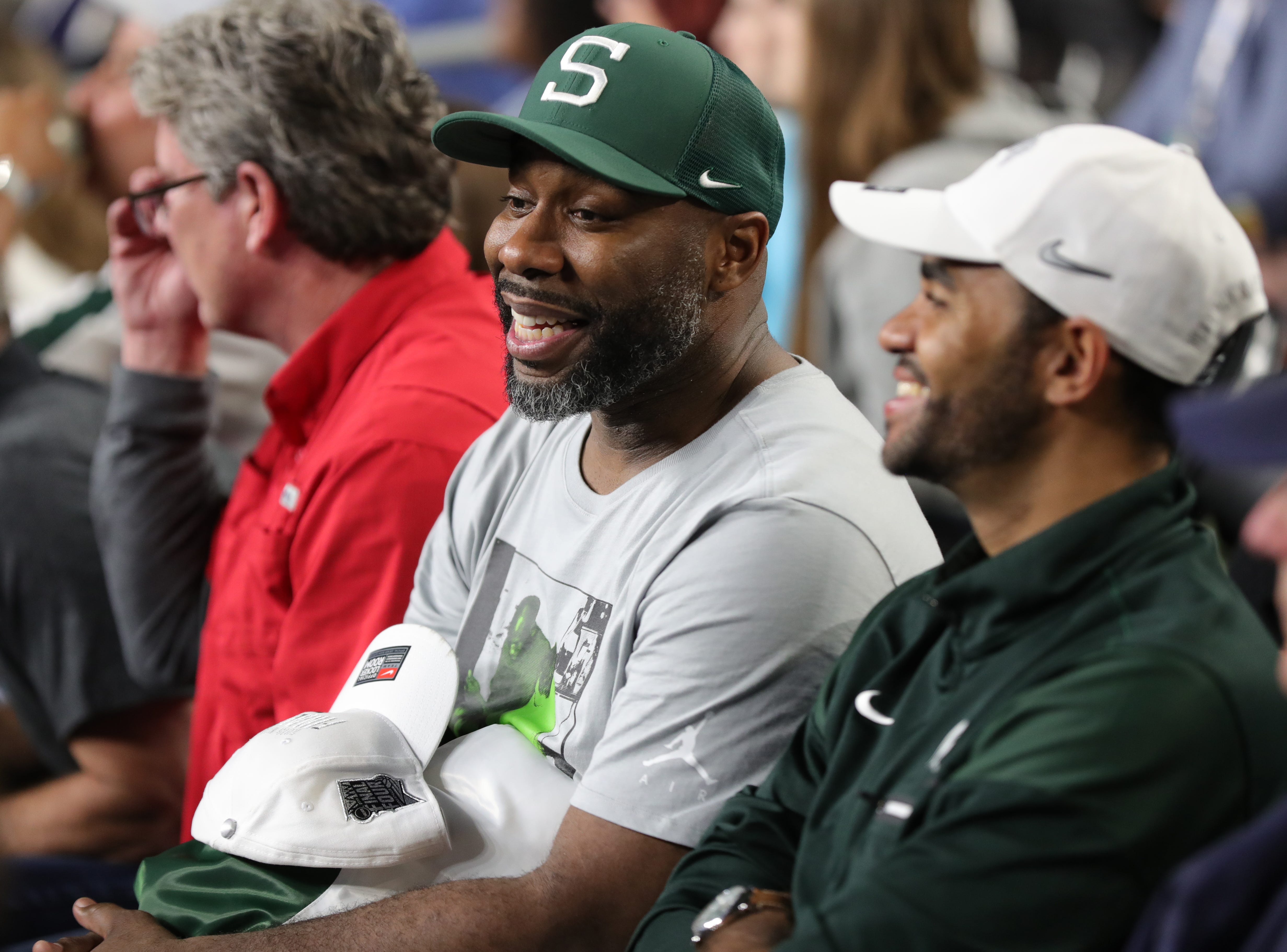 Former Michigan State player Mateen Cleaves in the stands before the start of the Spartan's Final Four game against Texas Tech at U.S. Bank Stadium in Minneapolis, Minnesota on Saturday, April 06, 2019.