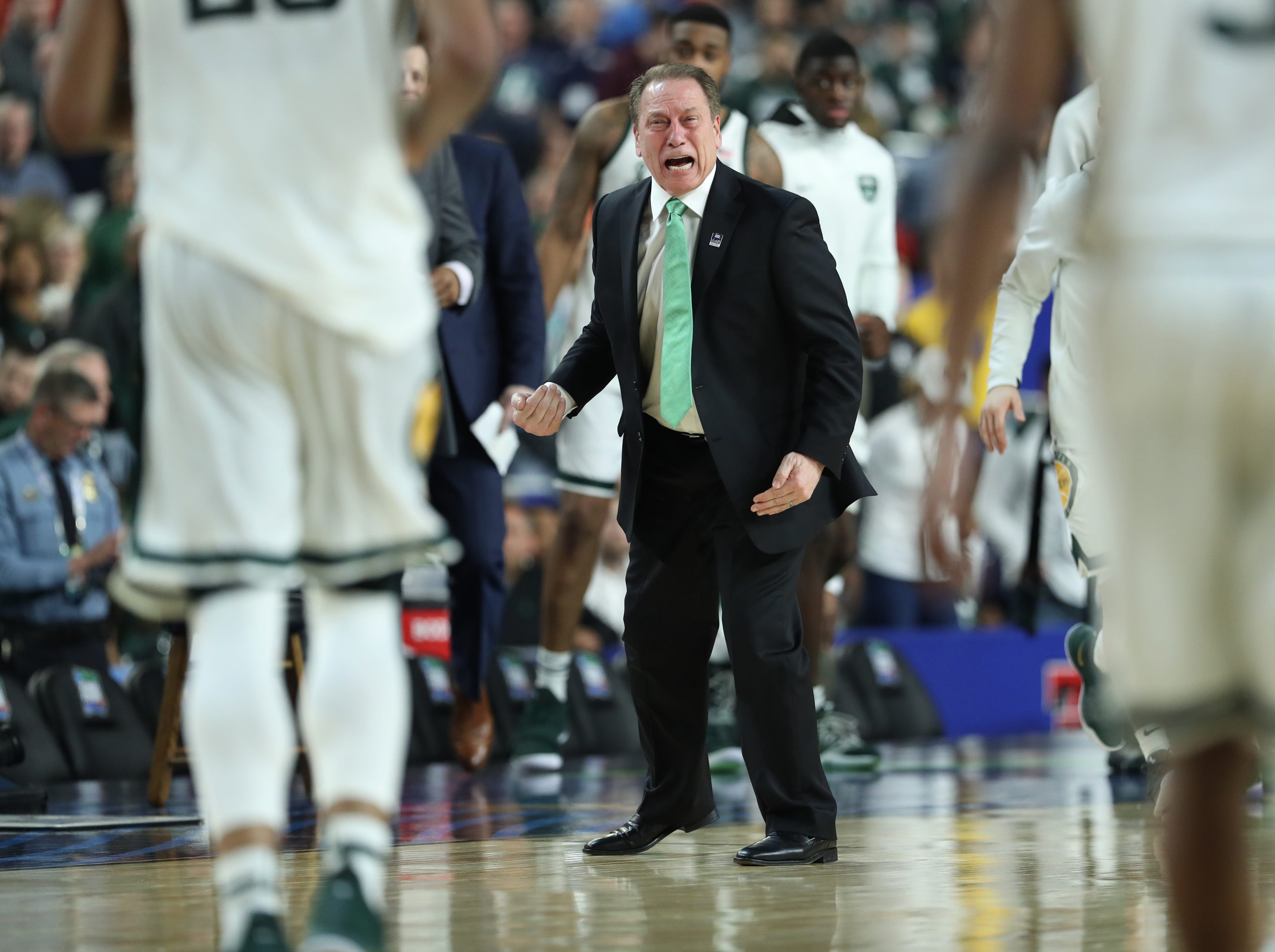 Michigan State head coach Tom Izzo reacts in the second half of the Final Four game at U.S. Bank Stadium in Minneapolis, Minnesota on Saturday, April 06, 2019.