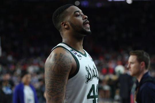 Michigan State's Nick Ward walks off the court after the Spartans lost in the Final Four to Texas Tech, 61-51, at U.S. Bank Stadium in Minneapolis, Minnesota on Saturday, April 6, 2019.