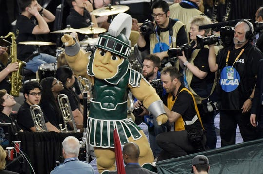 Sparty pumps up the crowd as Michigan State prepares to take the floor during the Final Four against Texas Tech at U.S. Bank Stadium in Minneapolis, Minnesota on Saturday, April 6, 2019.