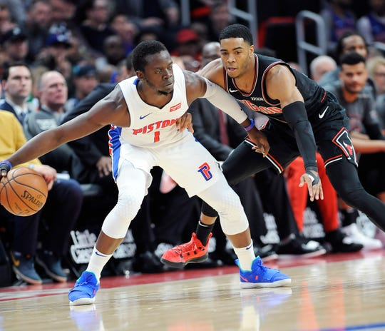 It's possible the Pistons and Reggie Jackson (1) could clinch a playoff spot Sunday, though they would need a victory over the Charlotte Hornets.